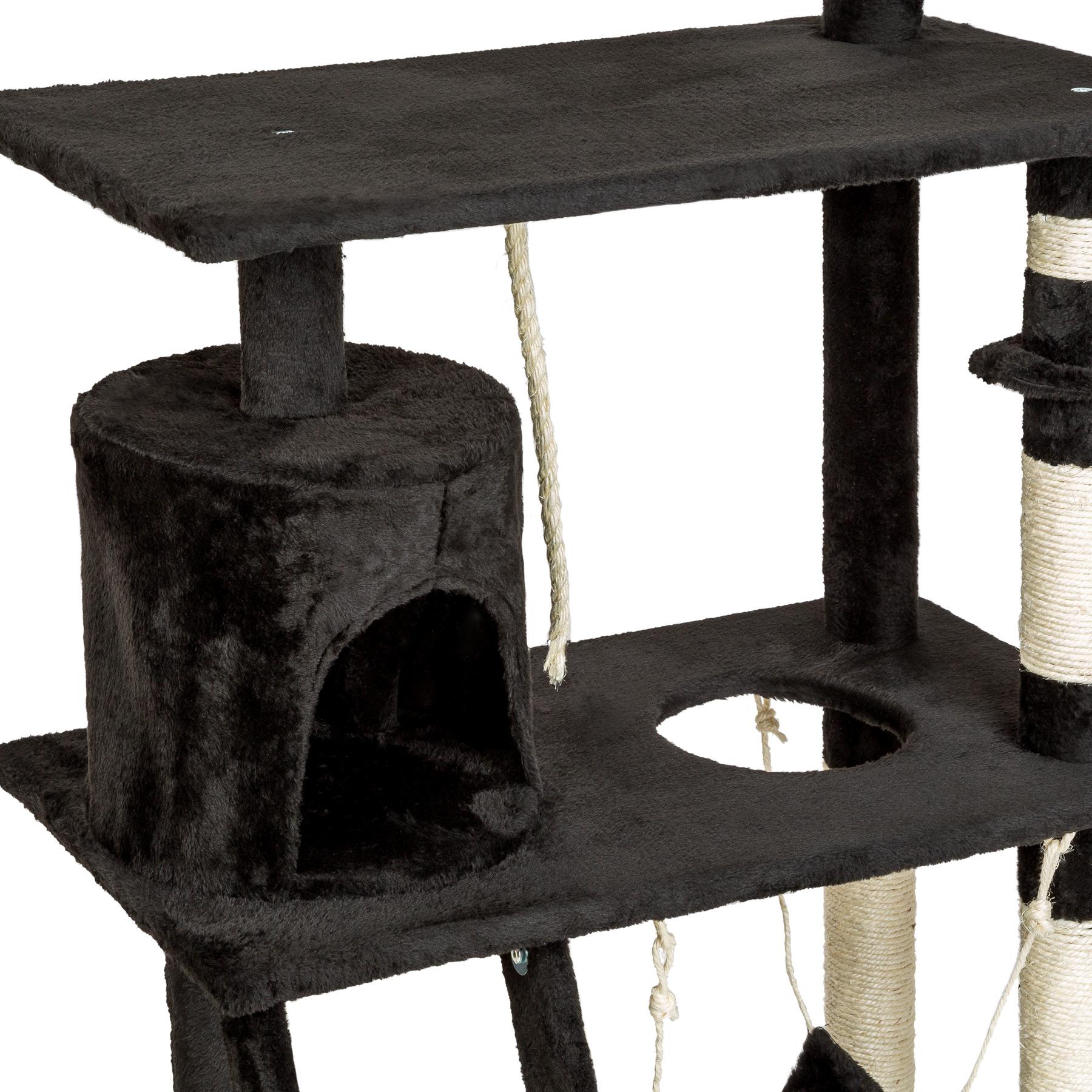 arbre chat griffoir grattoir animaux geant avec hamac lit 141 cm hauteur noir ebay. Black Bedroom Furniture Sets. Home Design Ideas