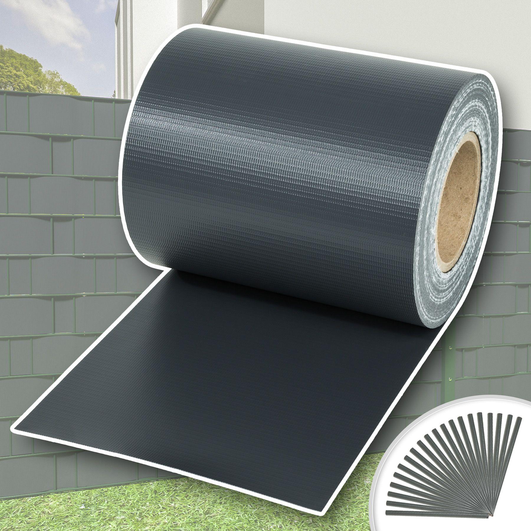 Rotolo recinzione 70m x 19cm pvc pellicola giardino resistente vento antracite