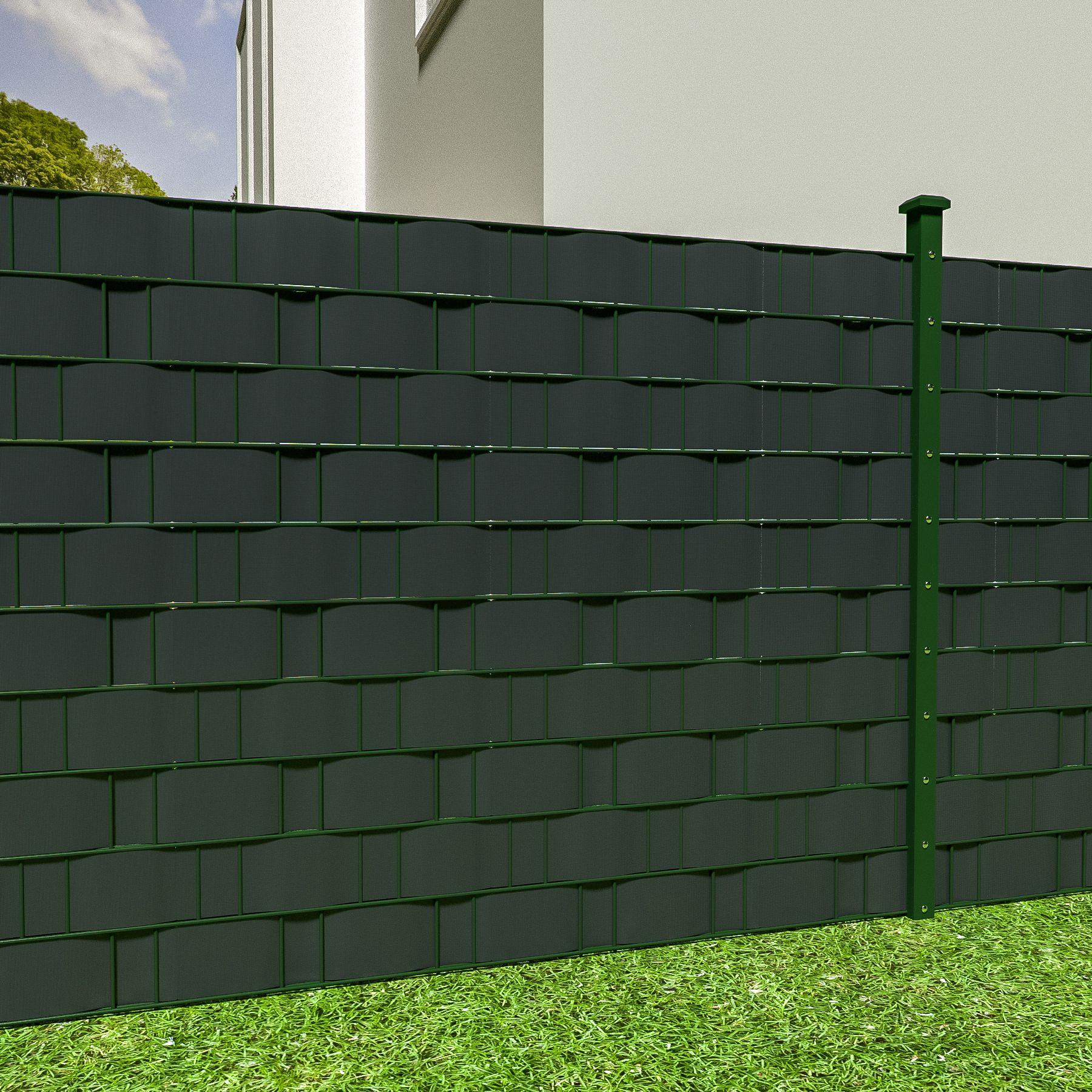 pvc sichtschutz streifen sichtschutzfolie doppelstabmatten zaun 70m anthrazit ebay. Black Bedroom Furniture Sets. Home Design Ideas