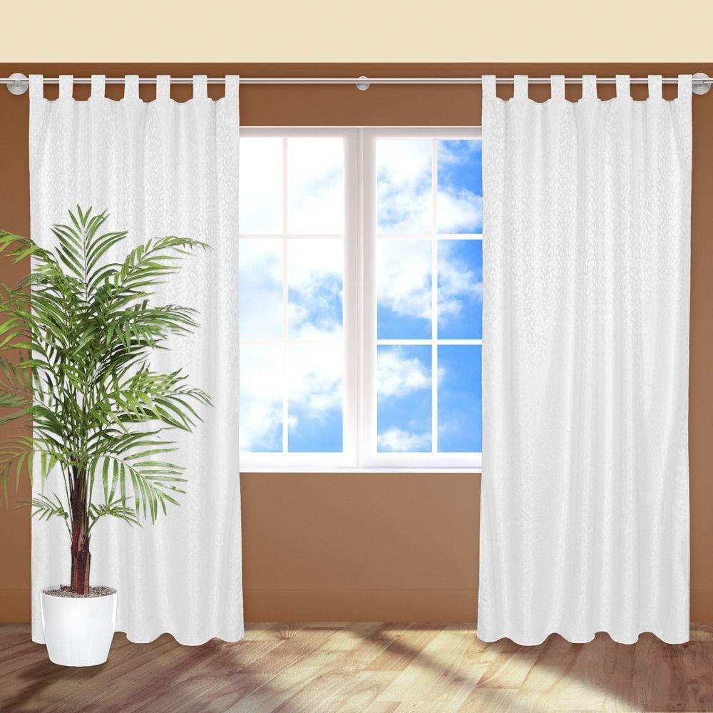2x blickdichter vorhang gardine mit schlaufen schlaufenschal fensterschal wei ebay. Black Bedroom Furniture Sets. Home Design Ideas