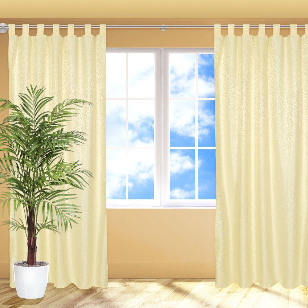 6x blickdichter vorhang schlaufenschal fensterschal gardine mit schlaufen gelb ebay. Black Bedroom Furniture Sets. Home Design Ideas