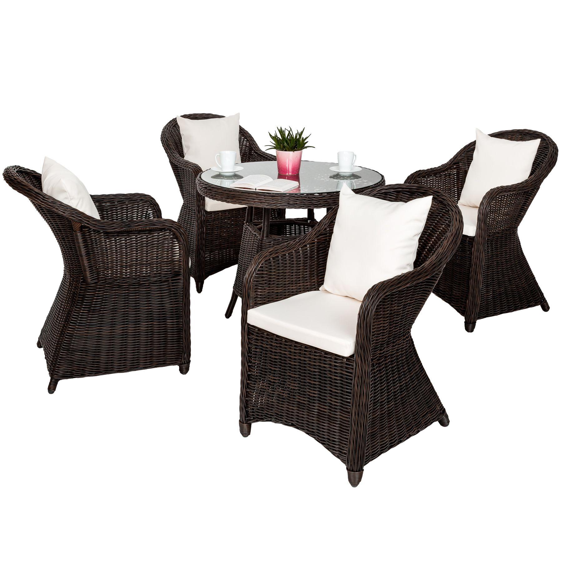 Alu Garten Sitzgruppe 4 Gartenstuhl Tisch Set Polyrattan Gartenmöbel Stuhl  Braun | EBay
