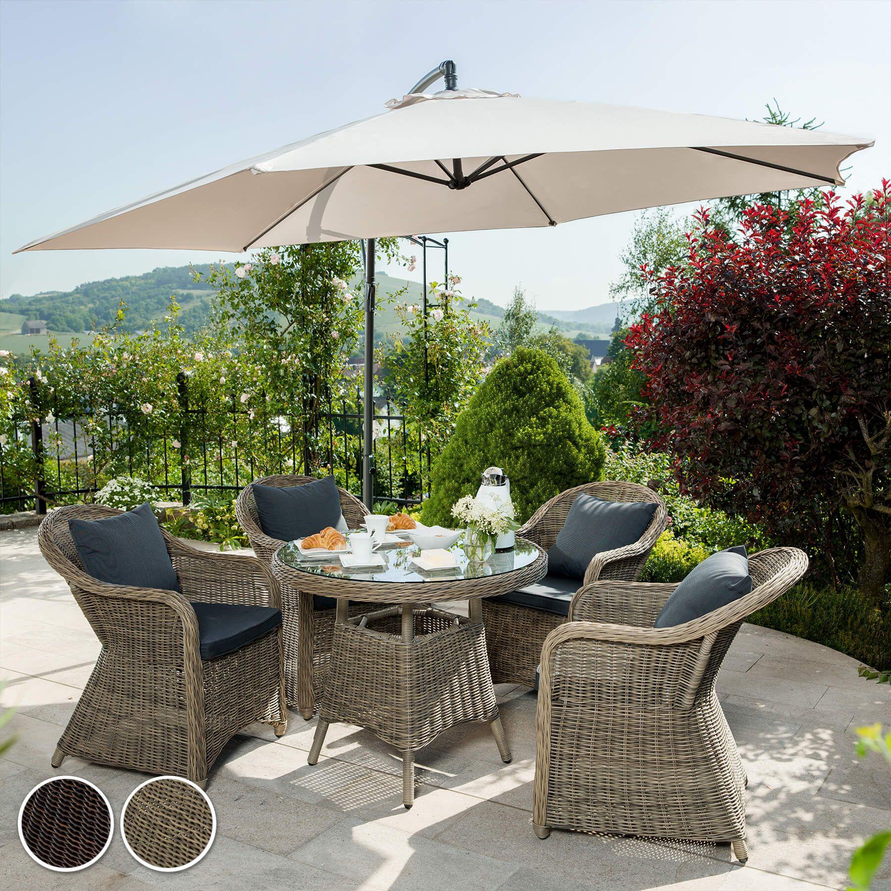 Details Sur Aluminium Salon De Jardin 4x Chaise 1x Table Resine Tressee Osier Poly Rotin Bru