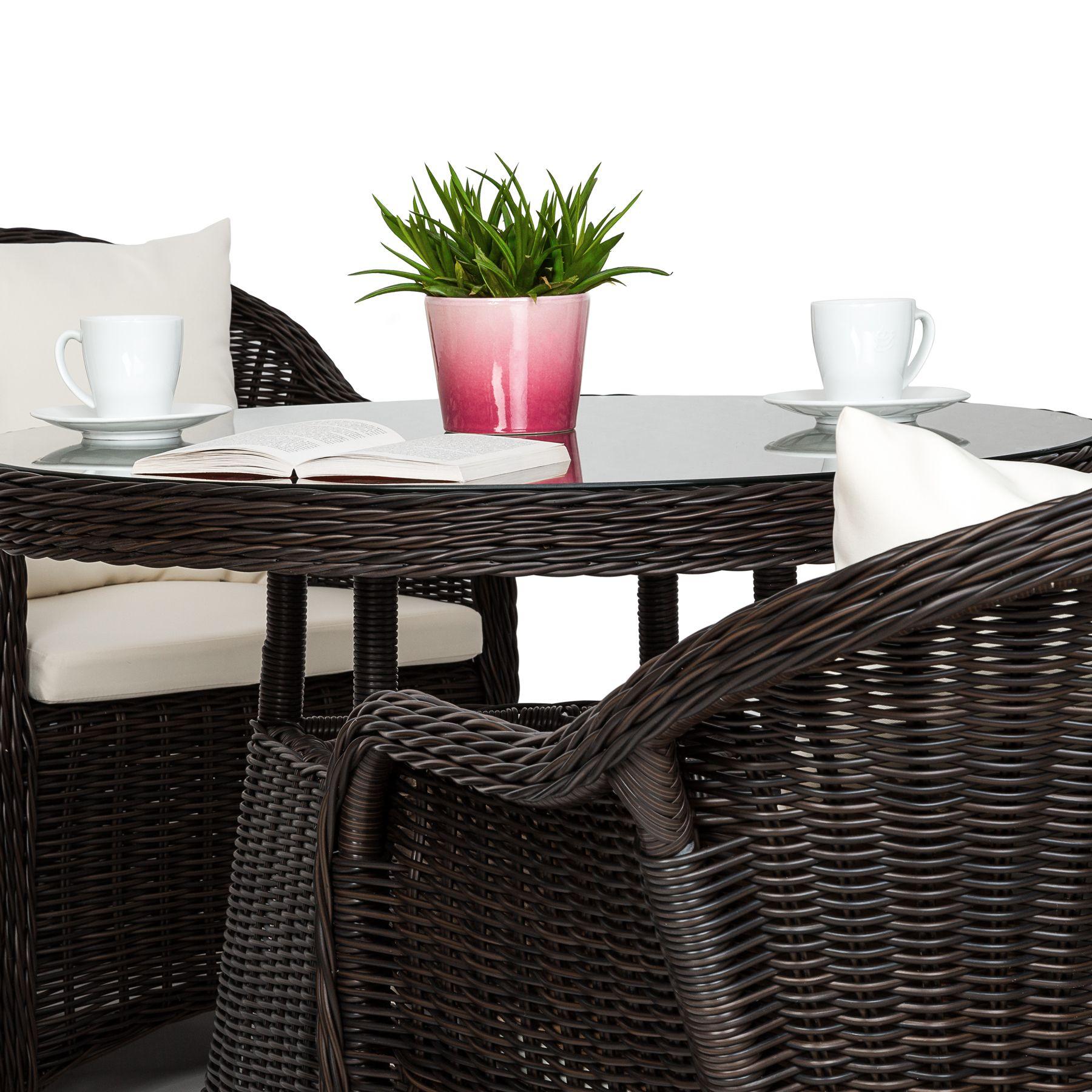 Détails sur Aluminium salon de jardin 4x chaise 1x table résine tressée  osier poly rotin bru
