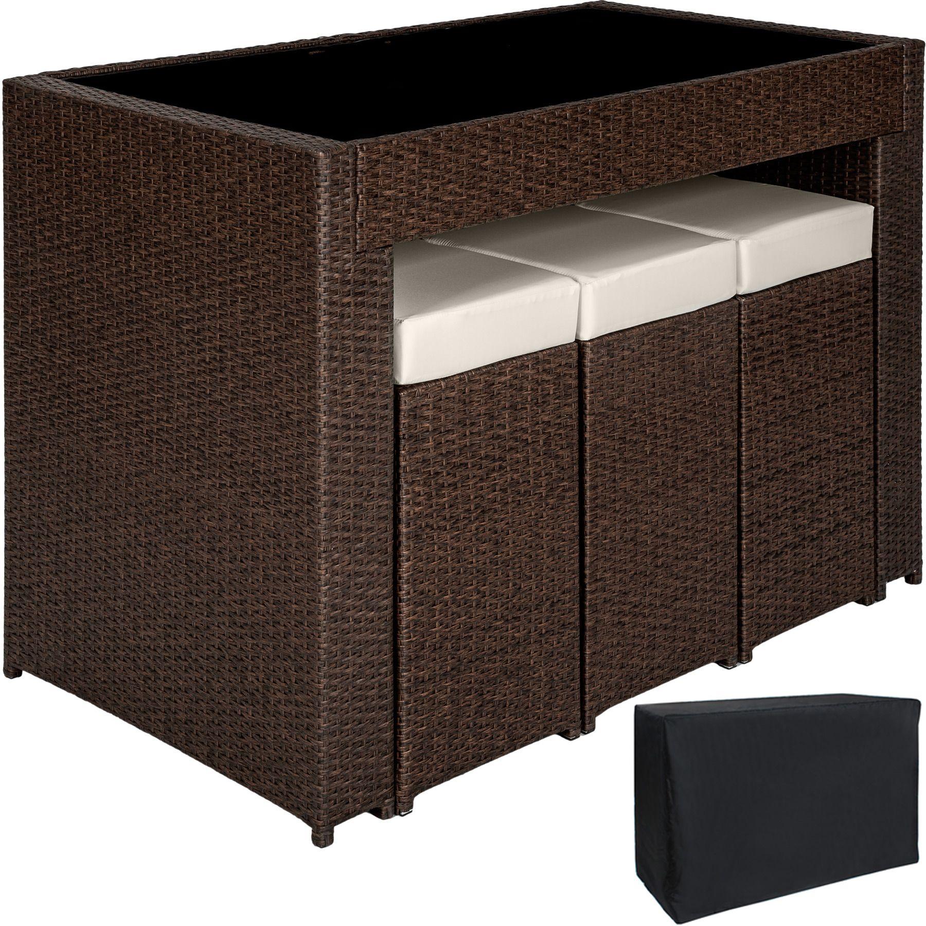 poly rattan aluminium barset mit 6 barhocker sitzgruppe lounge theke tisch ebay. Black Bedroom Furniture Sets. Home Design Ideas