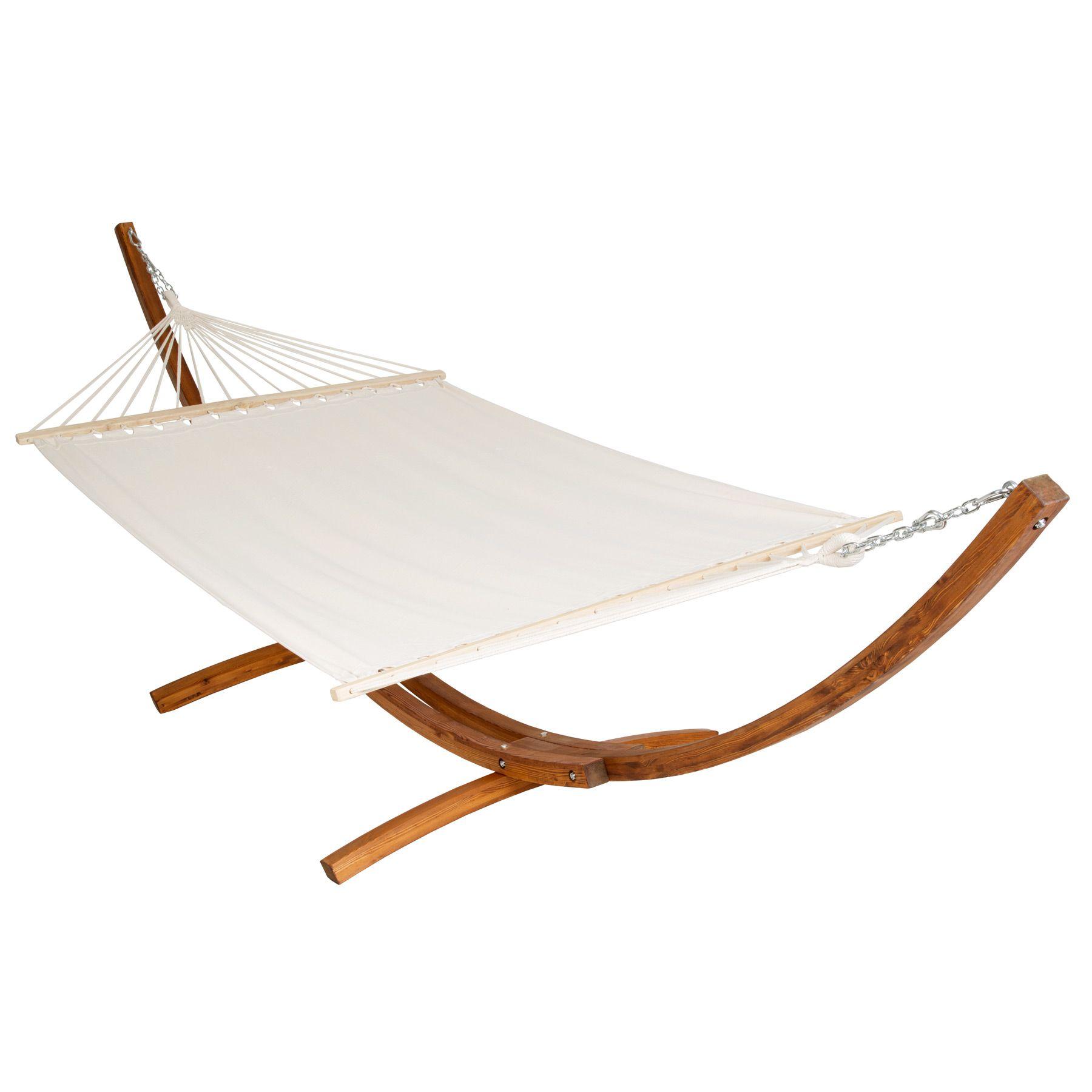 415 cm xxl h ngematte mit gestell holz gartenliege sonnenliege gartenm bel liege ebay. Black Bedroom Furniture Sets. Home Design Ideas