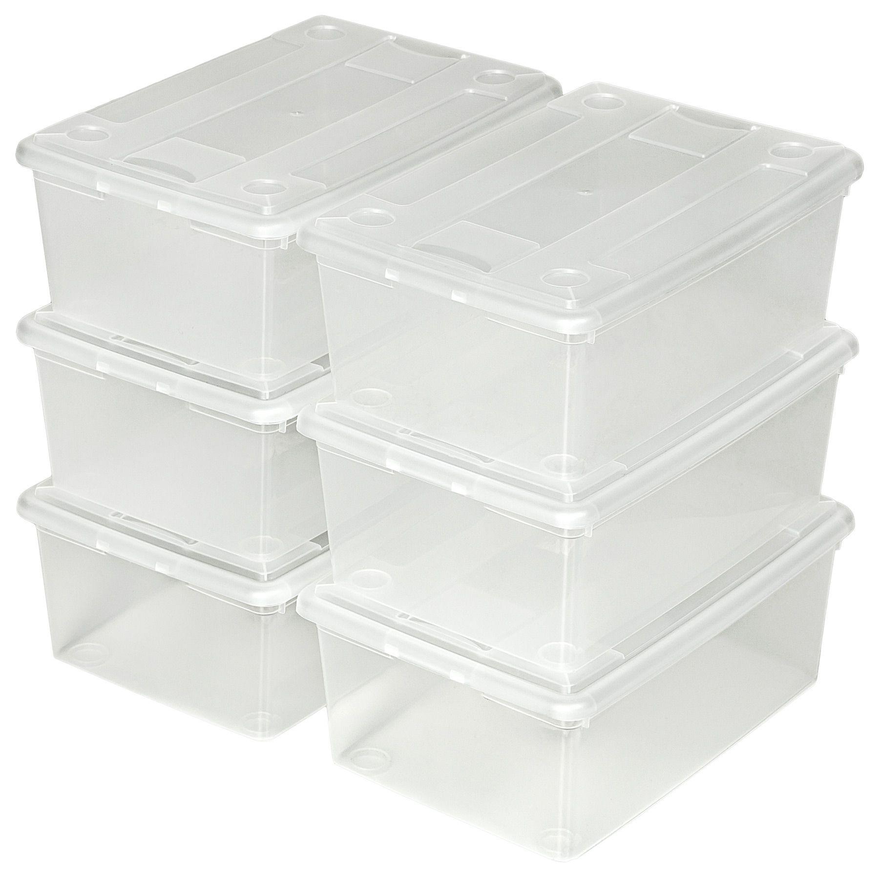 Cajas de almacenaje de zapatos calzado cajas pl stico transparente apilable ebay - Almacenaje zapatos ...