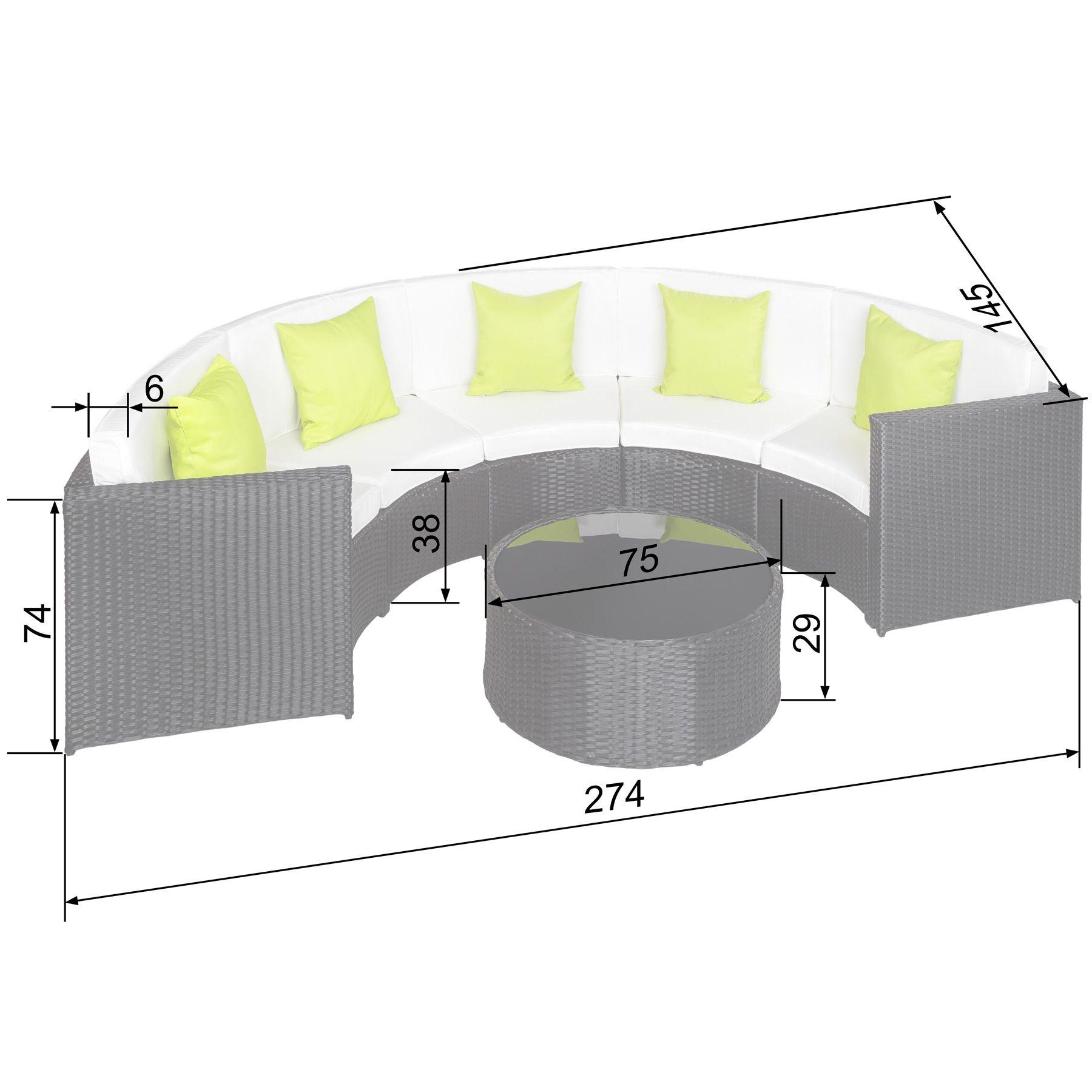 Poly rattan aluminium sofa halbrund gartenm bel lounge m bel mit tisch 5 kissen ebay - Mobel transportieren lassen ...