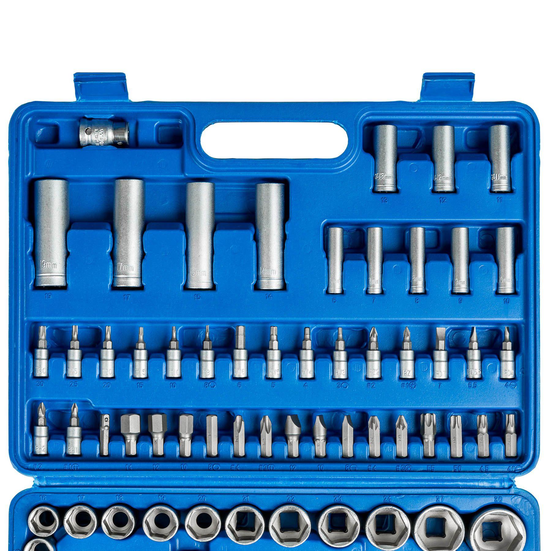 TecTake Coffret de cl/és /à cliquets de 94 pi/èces set compact cl/és /à douilles 1//2 pouce et 1//4 pouce