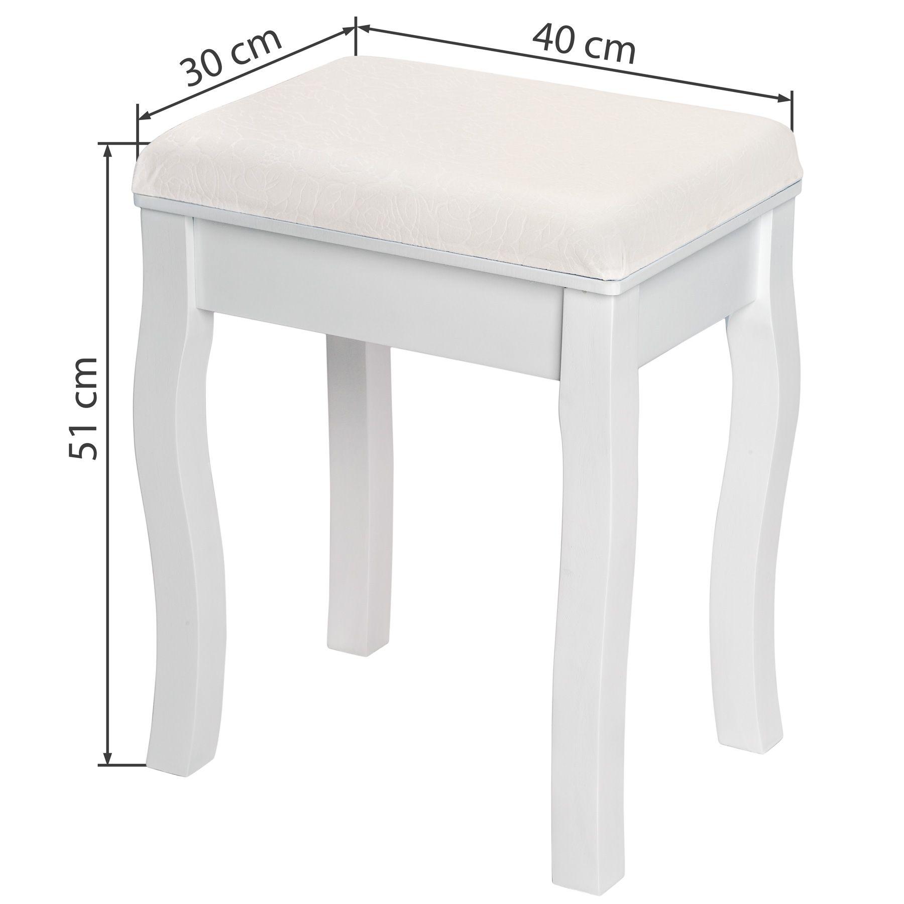 Tabouret Pouf Pour Coiffeuse Petite Chaise Piano Fauteuil En Bois Blanc 40x30x51 Ebay