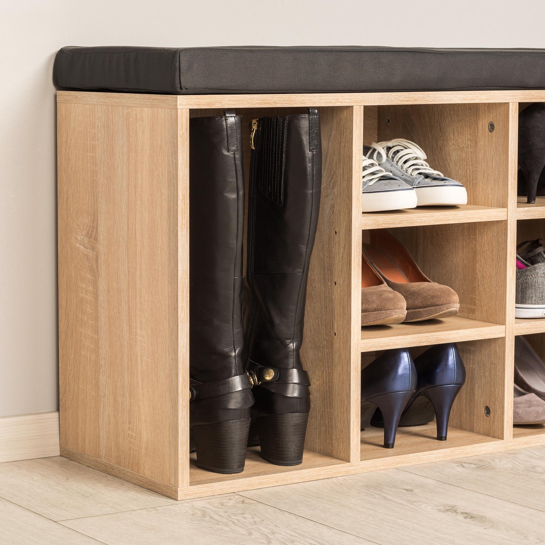 schuhschrank mit sitzkissen sitzbank schuhregal schuhablage 103 5x48x30cm eiche ebay. Black Bedroom Furniture Sets. Home Design Ideas