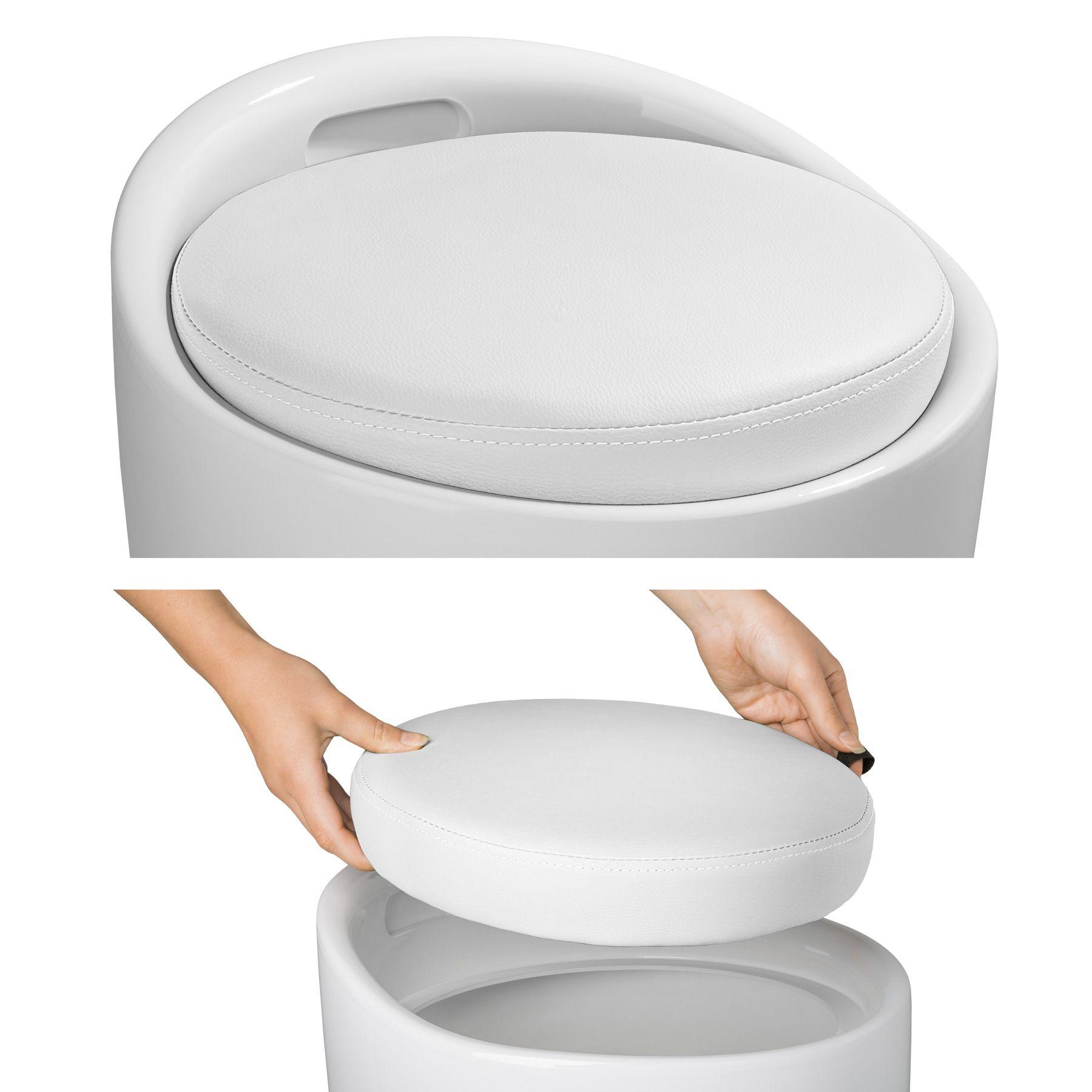 TecTake Sgabello per Bagno Scatola per Il Lavanderia bucato Contenitore Bianco Nero   No. 402079 plastica Stabile ABS Disponibile in Diversi Colori -