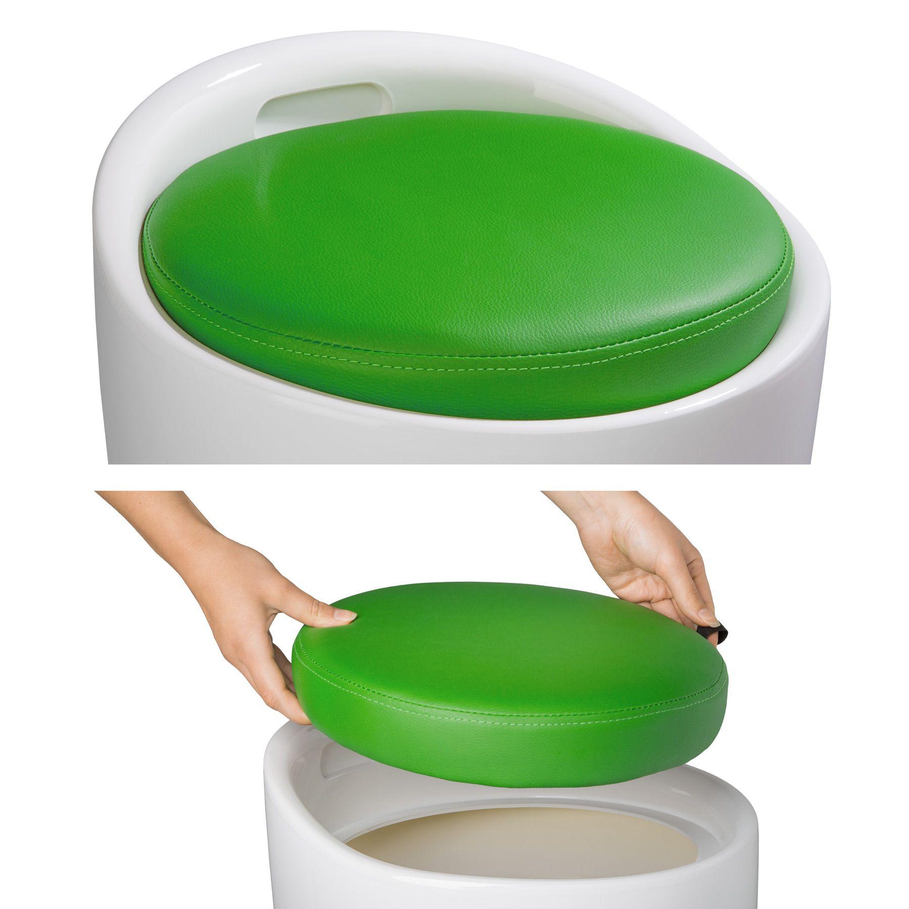 sitzhocker badhocker hocker bad arbeitshocker rund kunststoff mit stauraum gr n ebay. Black Bedroom Furniture Sets. Home Design Ideas