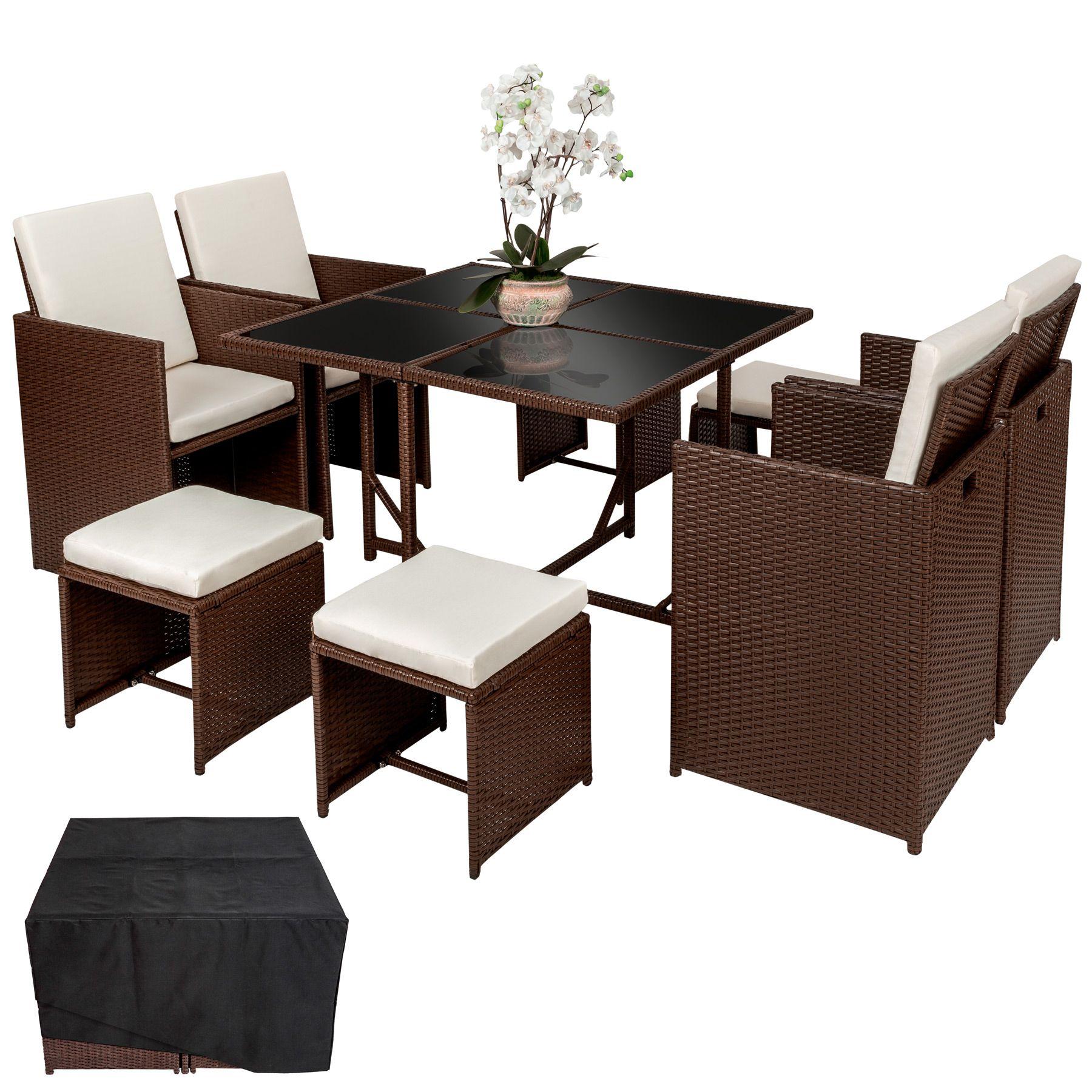 Conjunto muebles de jardín de poliratán sintético sillas taburetes ...