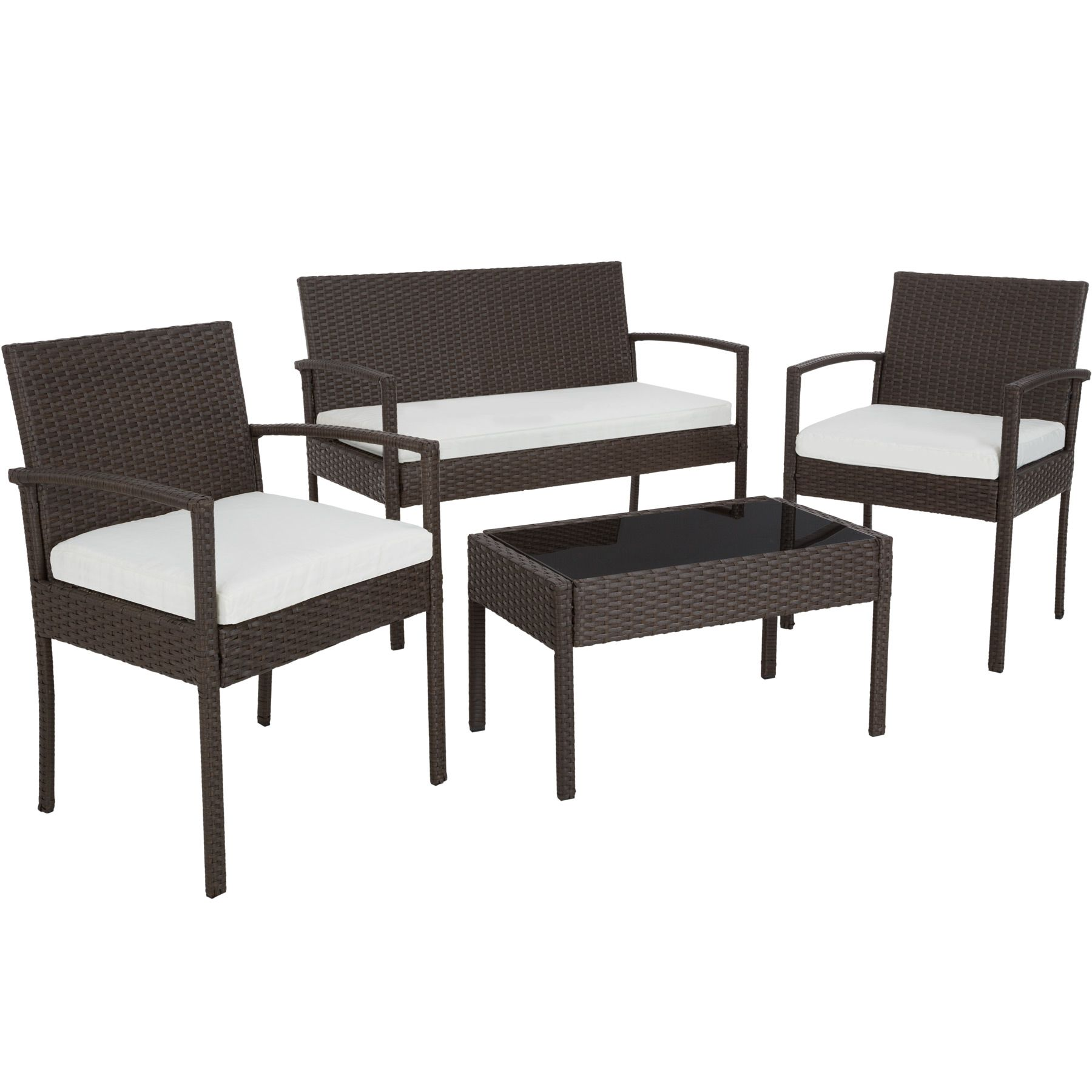 3b399142623 Poly Rattan Garden Furniture 2 Chairs Bench Table Set Outdoor Patio ...