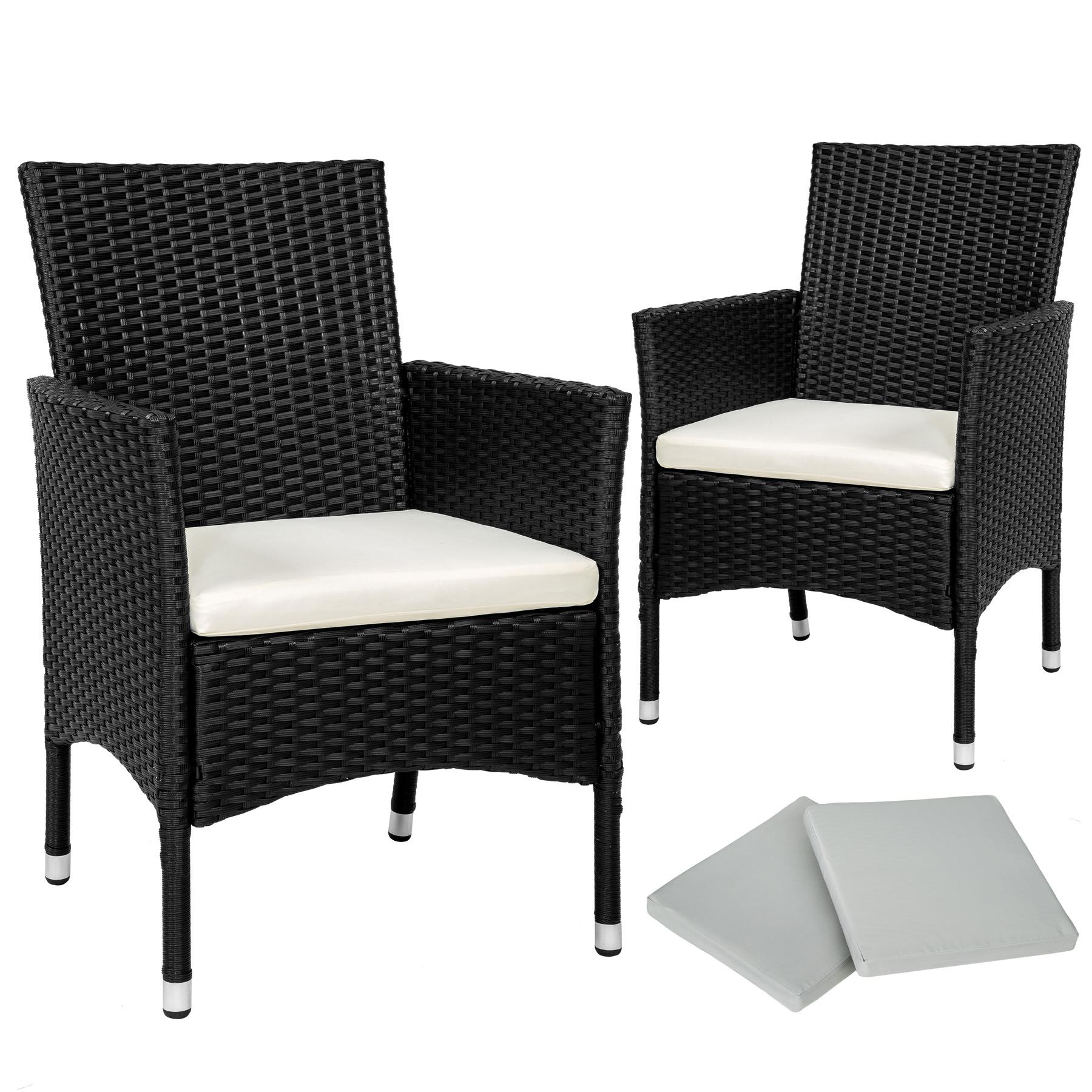 Genial 2er Set Poly Rattan Gartenstuhl Stuhl Sessel Hochlehner Kissen +2 Bezüge  Schwarz | EBay