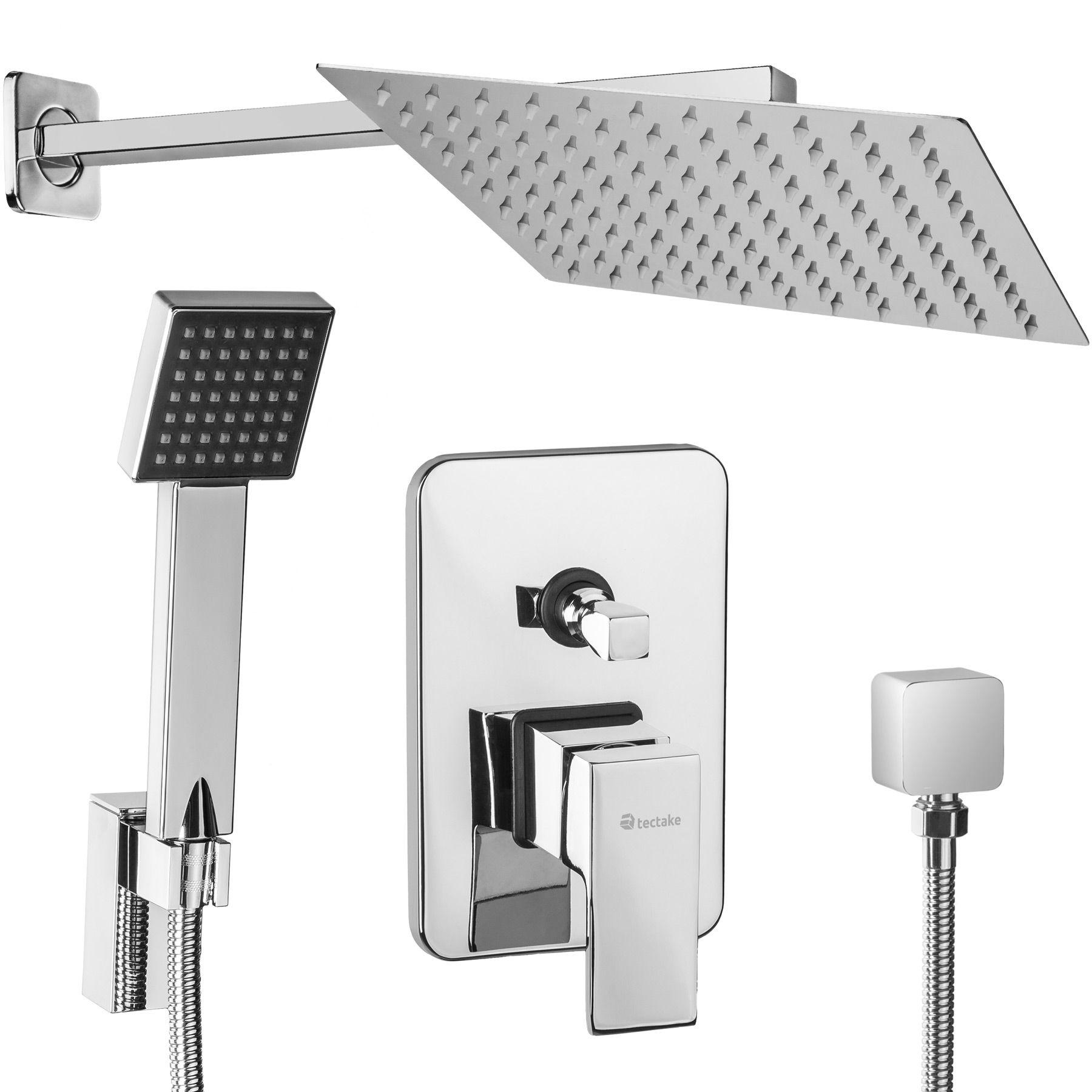 Details About Complete Shower Set Flush Mounted Jet Rain Head Hand Spray Mixer Bathroom Bath