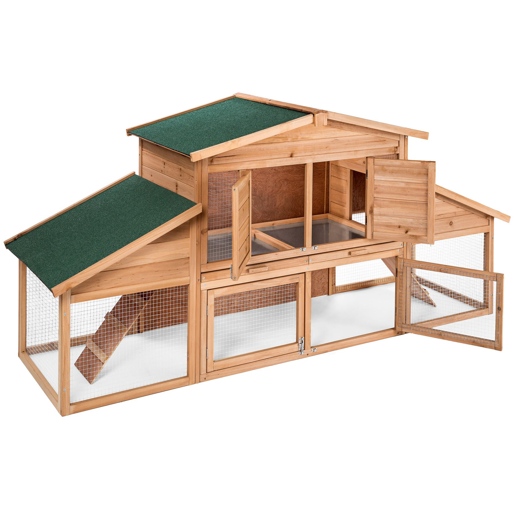 Rabbit hutch xxl with free run double decker bunny guinea for Free guinea pig hutch