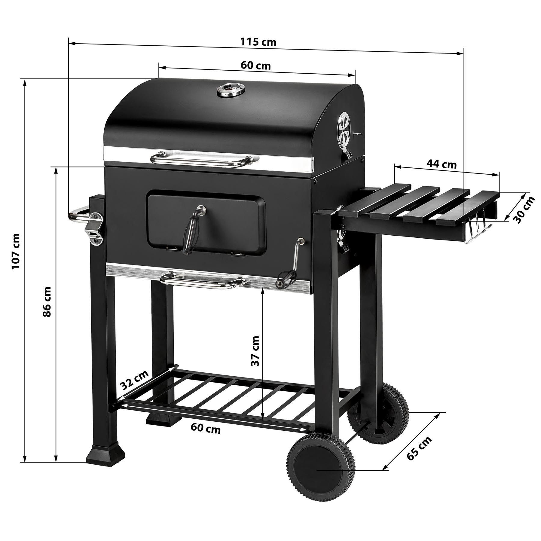Artículos para terraza y jardín Estufa jardin BBQ Barbacoa de carbón con ruedas vegetal parrilla fumador madera 115x65x107cm