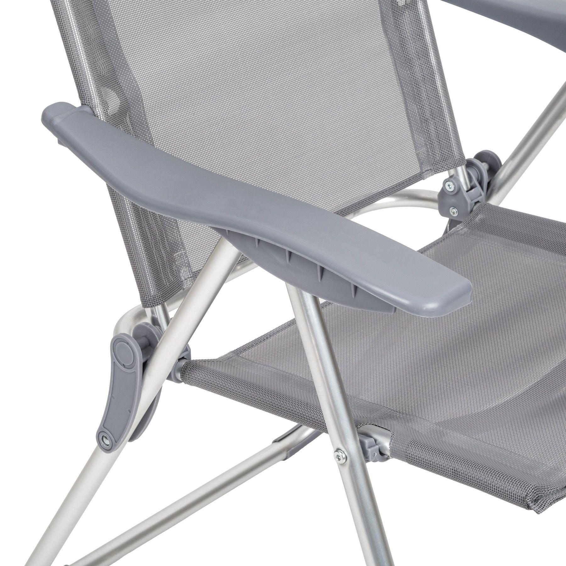 4er set alu klappstuhl gartenstuhl aluminium campingstuhl hochlehner grau ebay. Black Bedroom Furniture Sets. Home Design Ideas