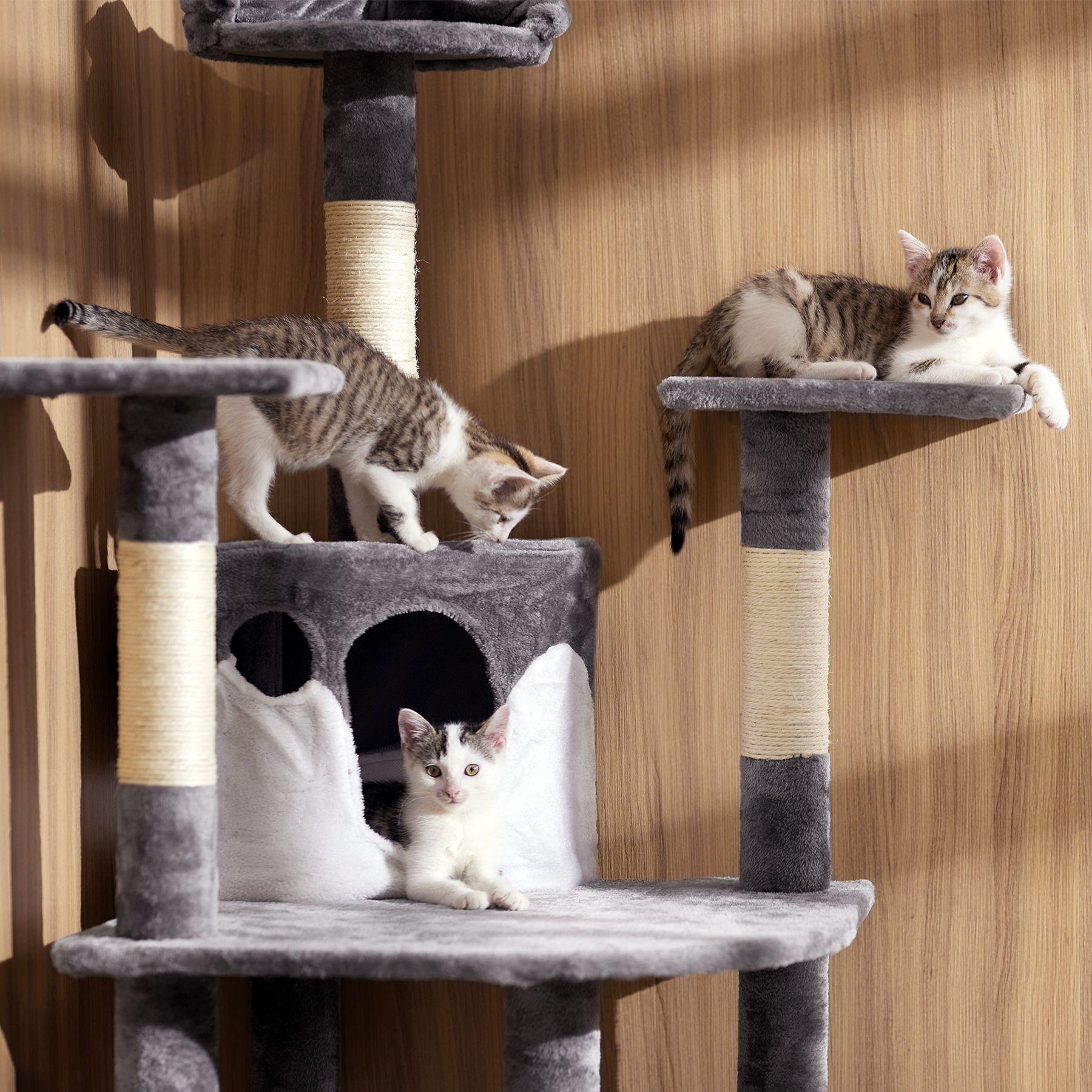 kratzbaum f r katzen katzenkratzbaum katzenbaum kletterbaum sisal beige wei ebay. Black Bedroom Furniture Sets. Home Design Ideas