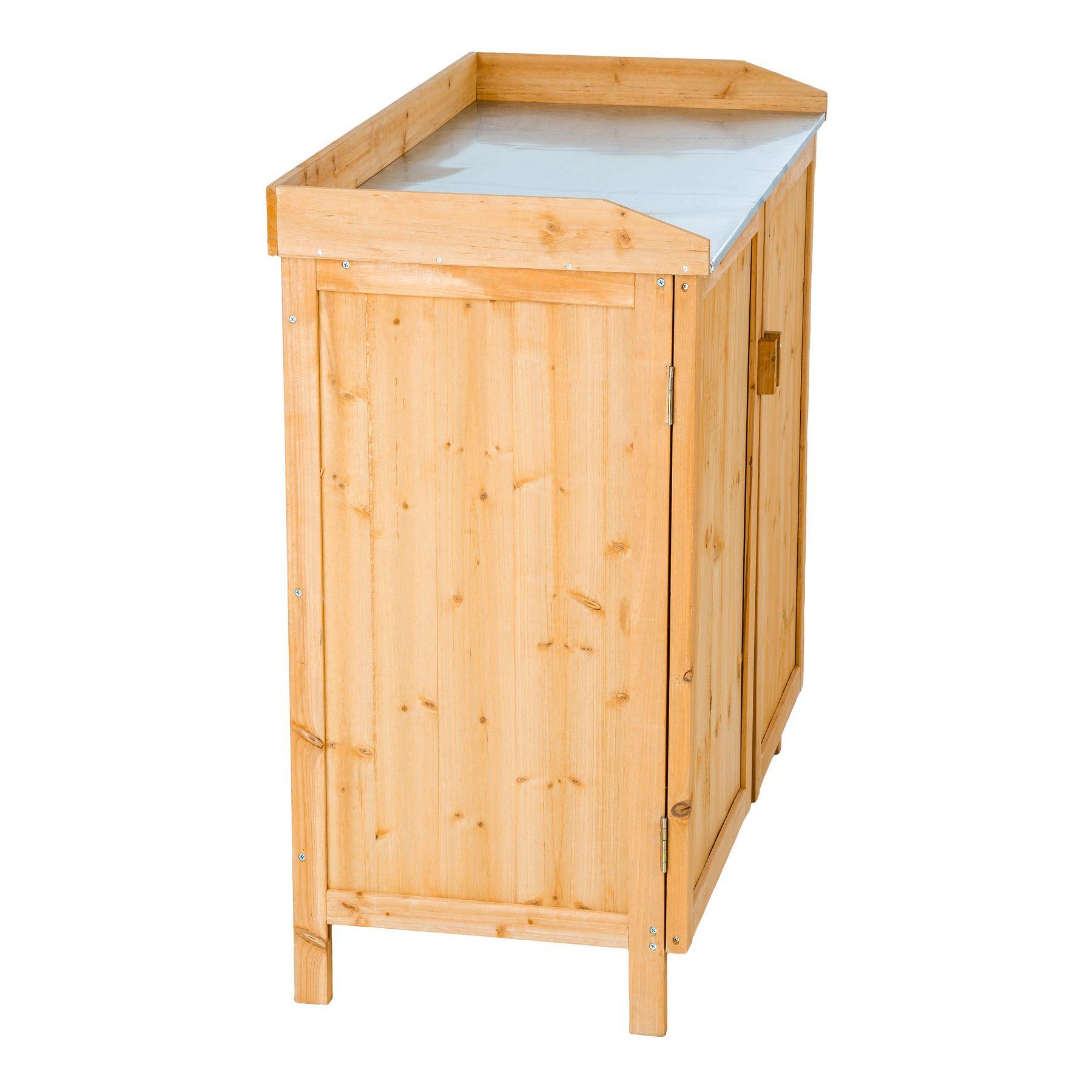 table plantes en bois avec armoire basse table de semis. Black Bedroom Furniture Sets. Home Design Ideas