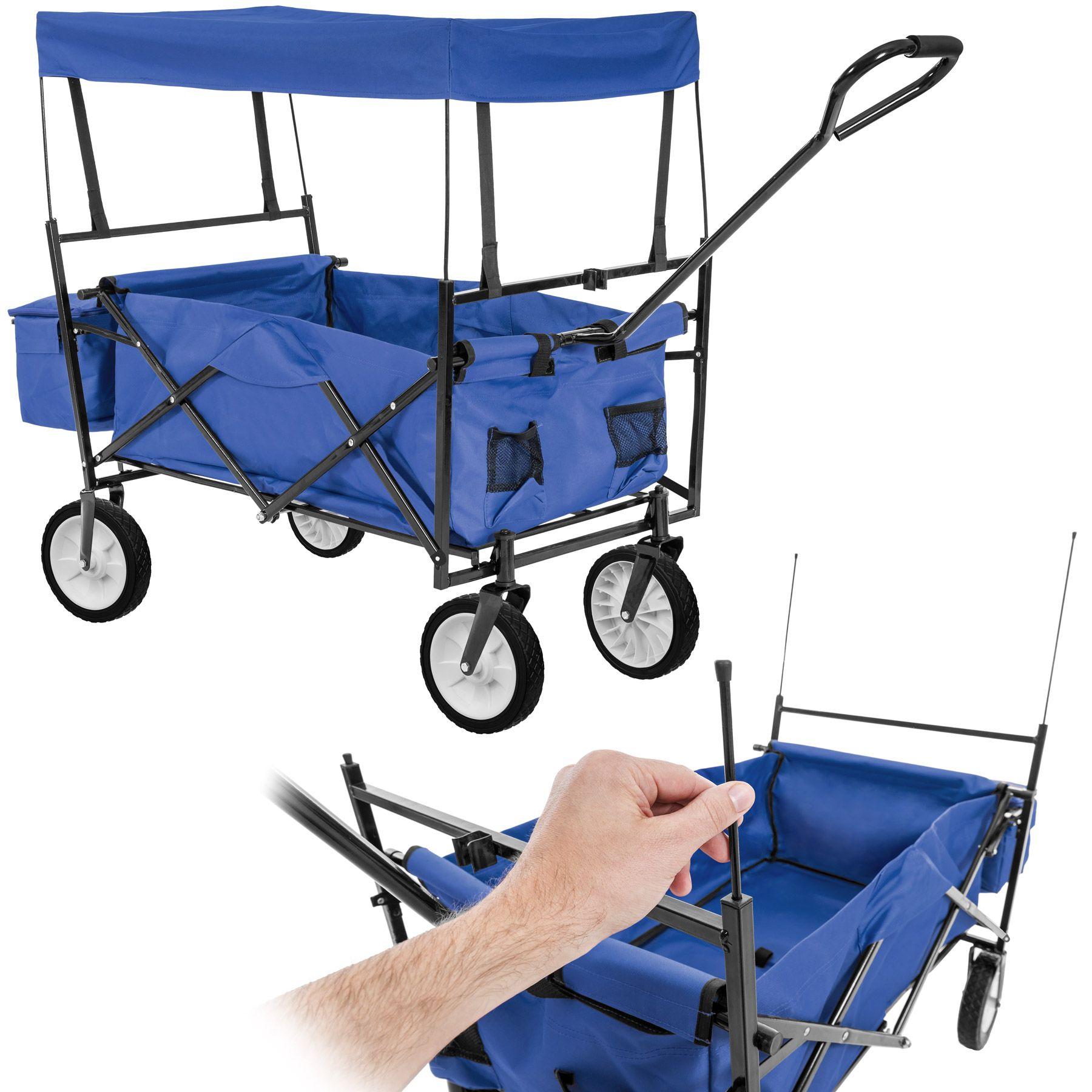 bollerwagen mit dach klappbar faltbar handwagen gartenwagen transportkarre blau ebay. Black Bedroom Furniture Sets. Home Design Ideas