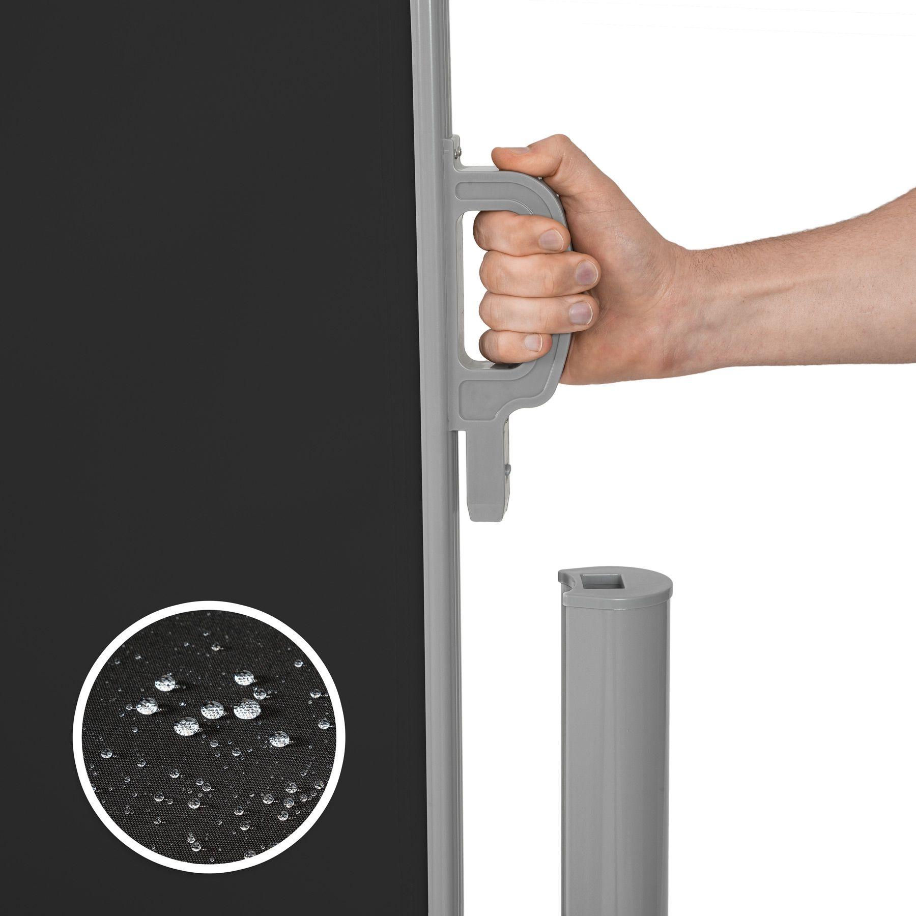 Store lat ral double brise vue abri soleil aluminium r tractable 160x600cm noir ebay - Brise vue retractable double ...