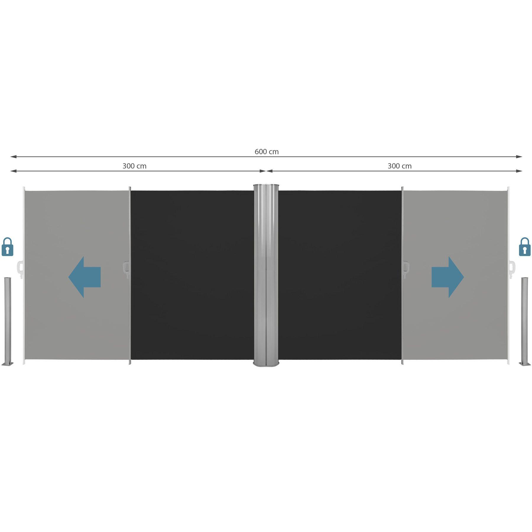 alu doppel seitenmarkise sonnenschutz sichtschutz terrasse 180x600 cm schwarz ebay. Black Bedroom Furniture Sets. Home Design Ideas