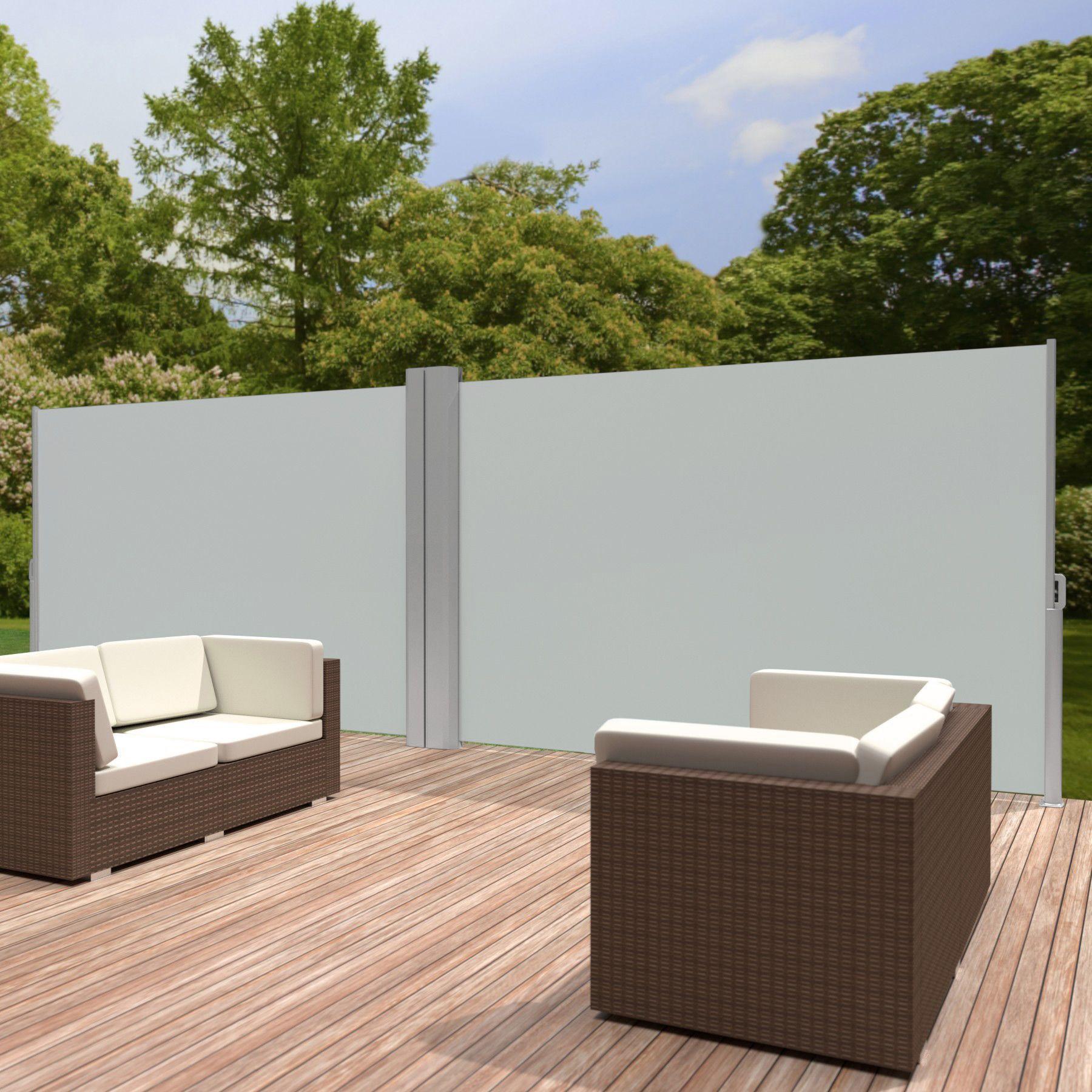 store lat ral double brise vue abri soleil aluminium auvent r tractable terrasse ebay. Black Bedroom Furniture Sets. Home Design Ideas