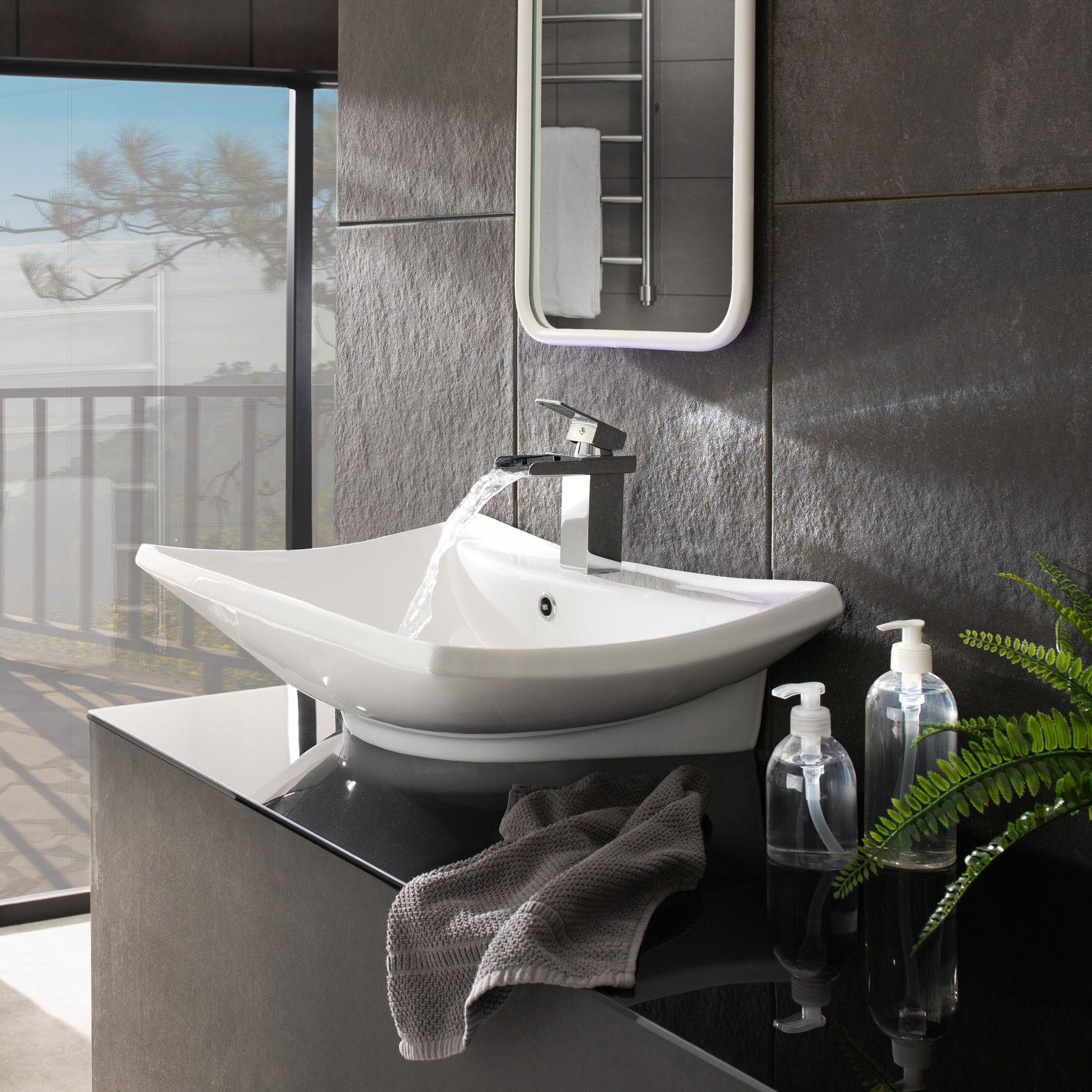 Vasque D Angle De Salle De Bain tectake lavabo à poser en céramique vasque rectangulaire