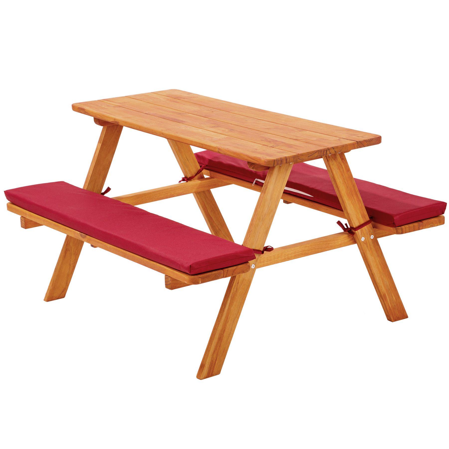 Détails sur Table bancs de pique-nique meubles enfants bois jardin avec  coussins rouge