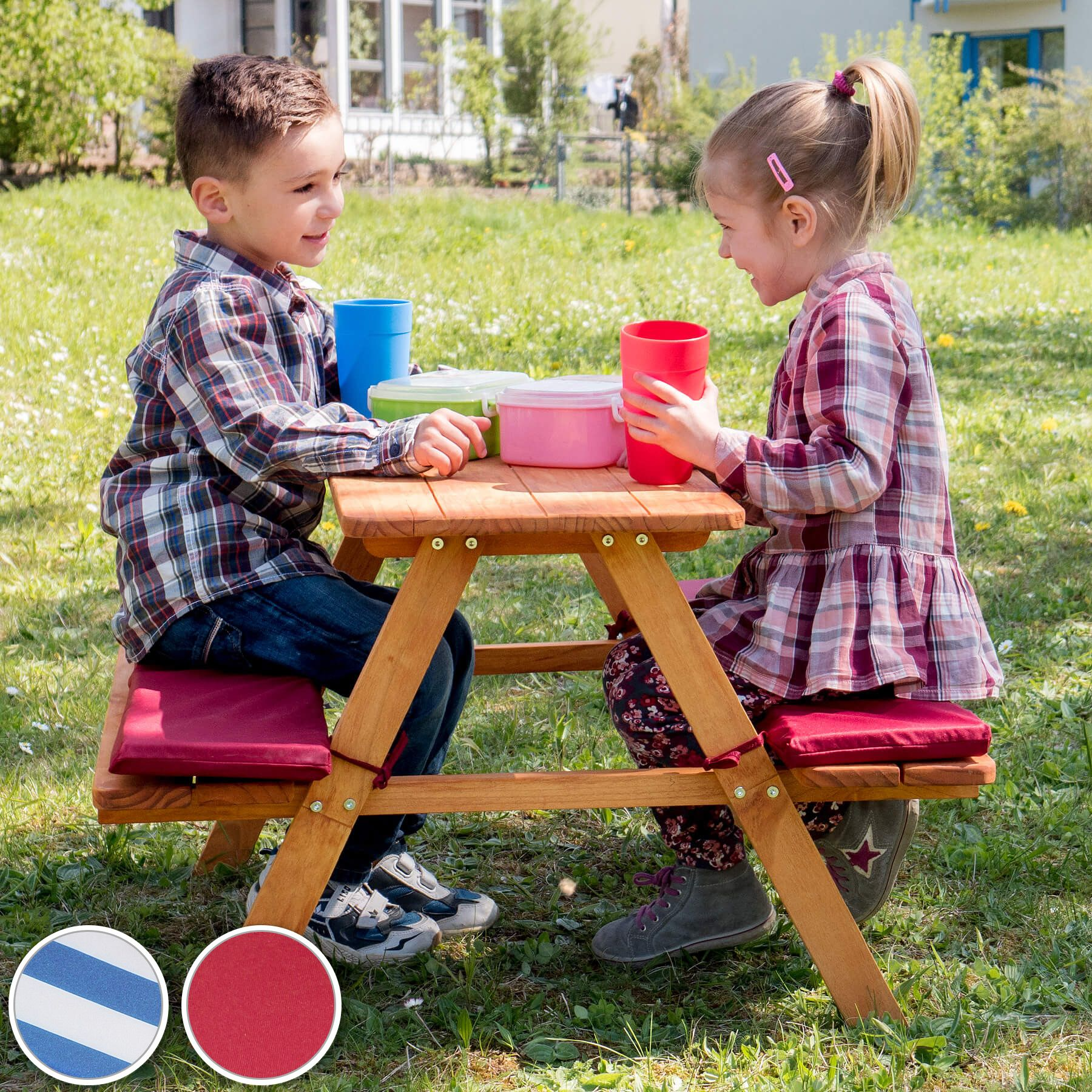 table bancs de pique nique meubles enfants bois jardin avec coussins ebay. Black Bedroom Furniture Sets. Home Design Ideas