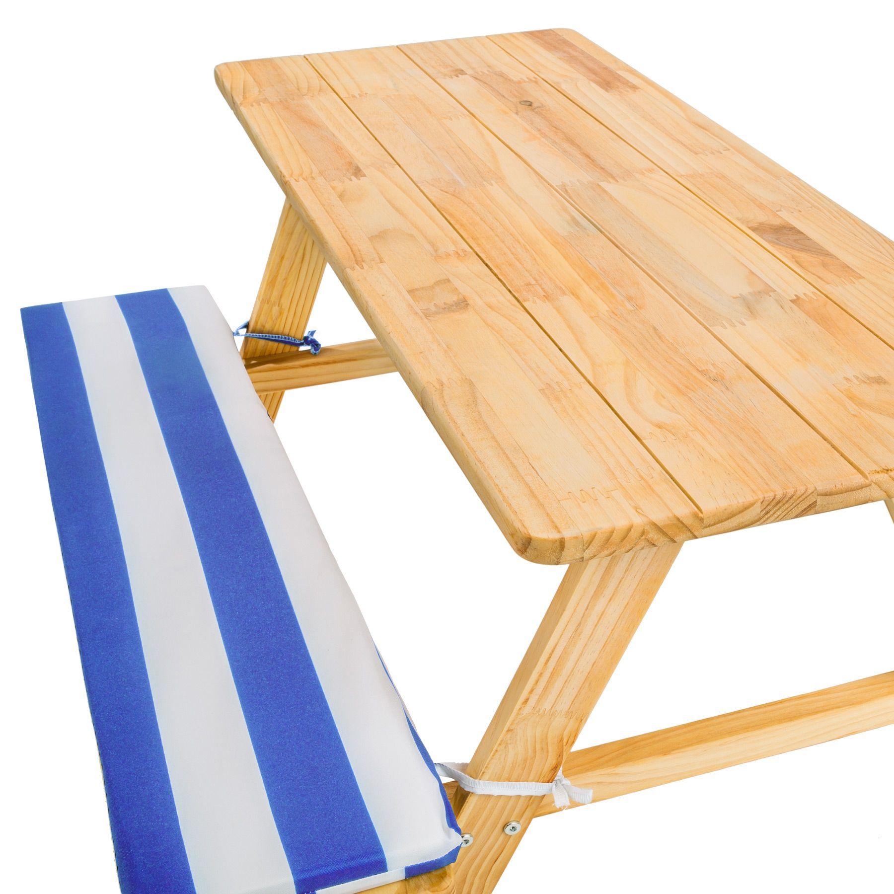 Table bancs de pique-nique meubles enfants bois jardin avec coussins ...