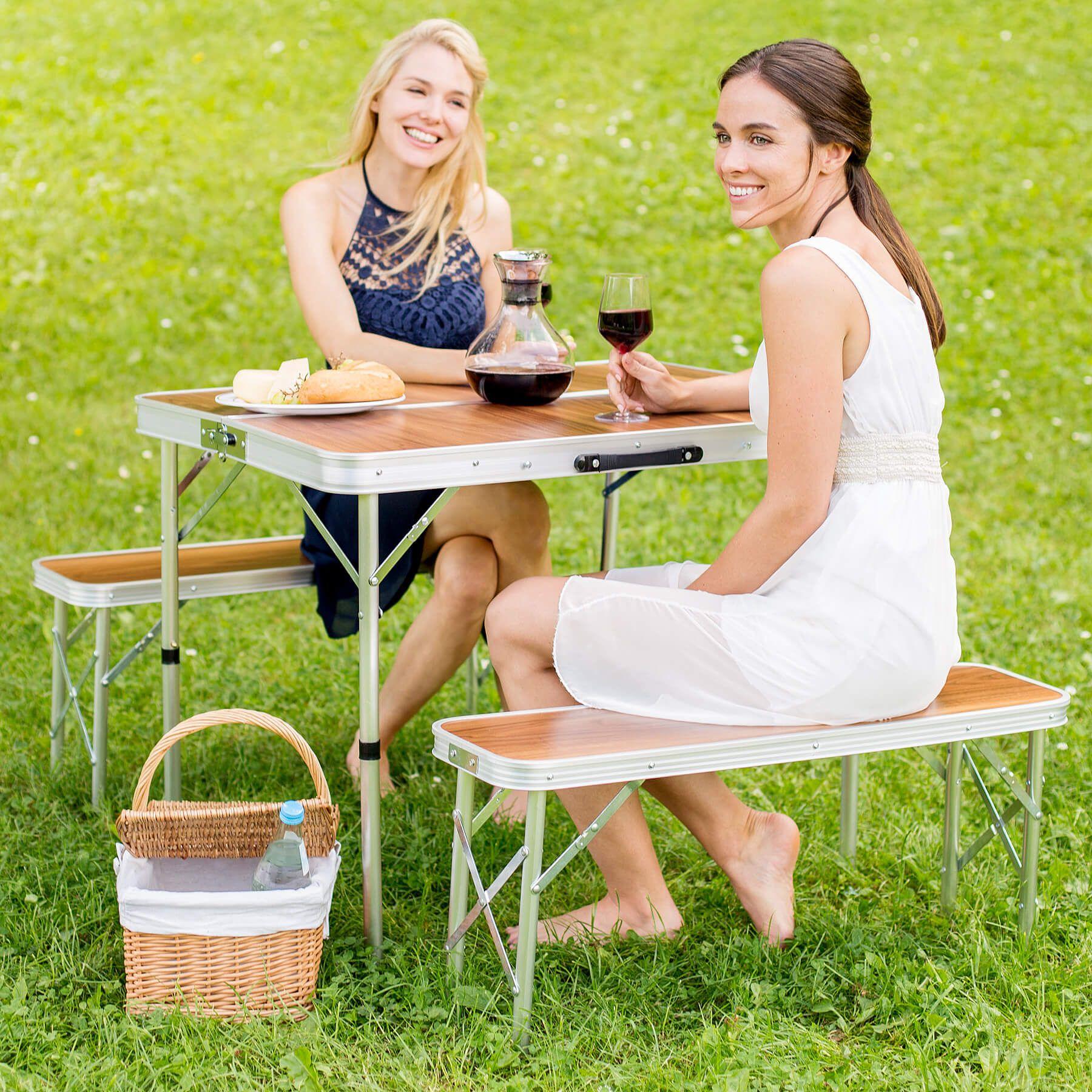 Mesa maleta 2 asientos bancos camping plegable portátil jardín ...