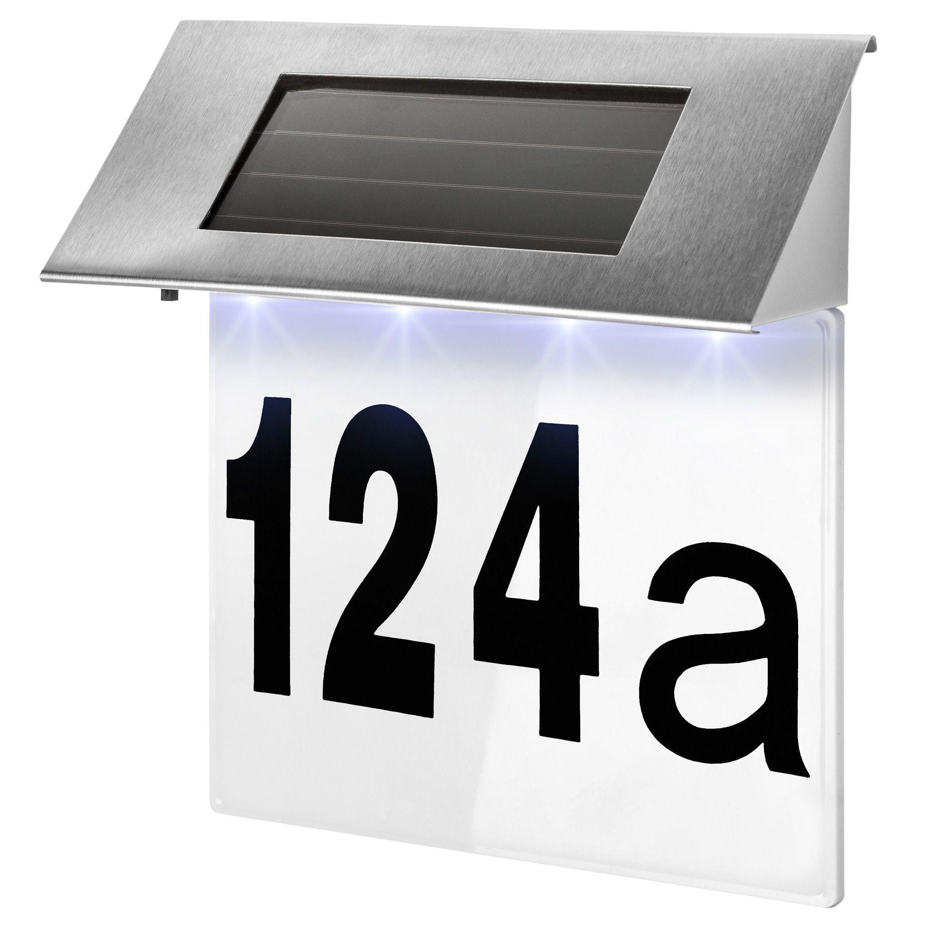 solar hausnummer beleuchtung hausnummer beleuchtet hausnummernleuchte edelstahl 4260505440107 ebay. Black Bedroom Furniture Sets. Home Design Ideas