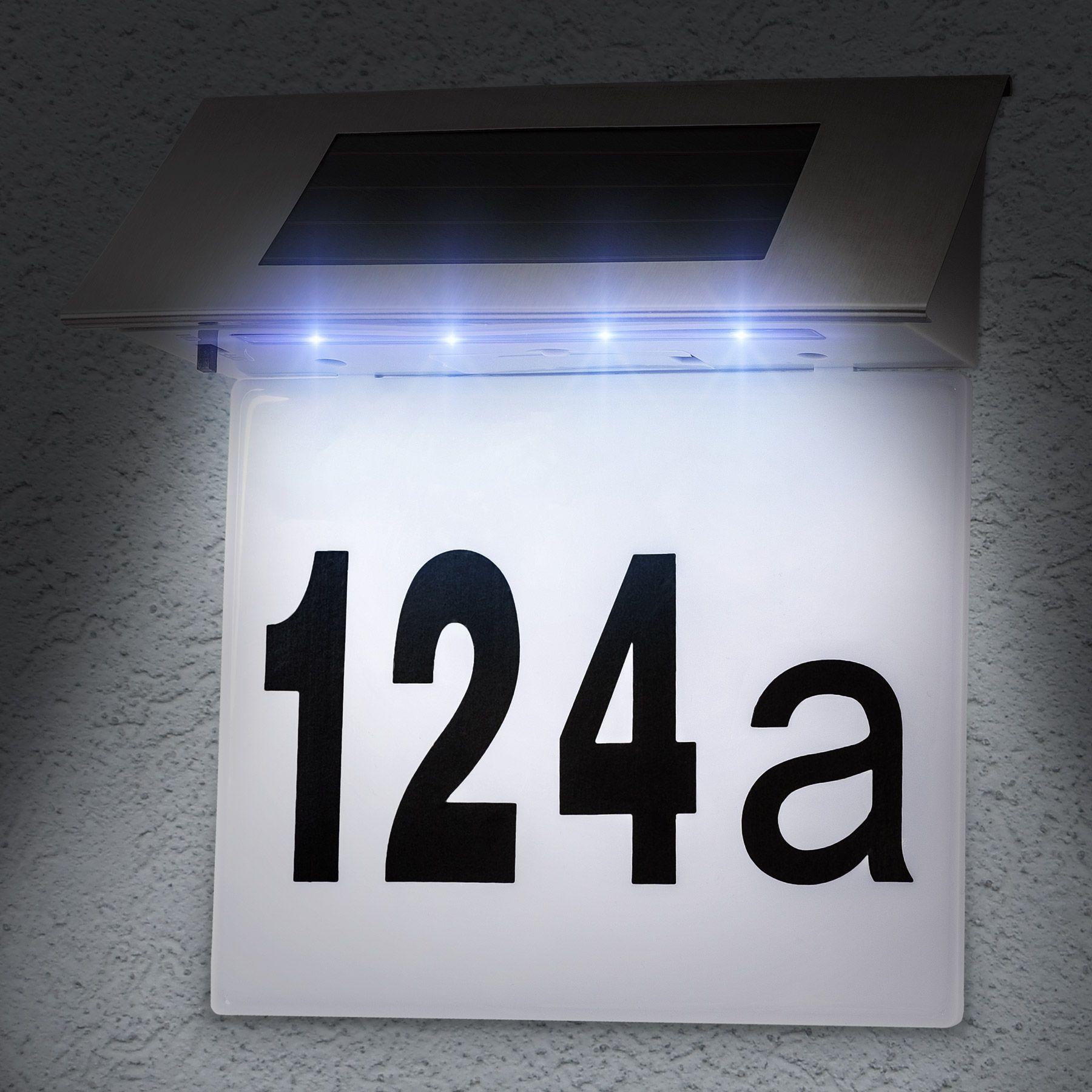 Solar LED huisnummerlamp op zonne-energie huisnummer verlichting ...