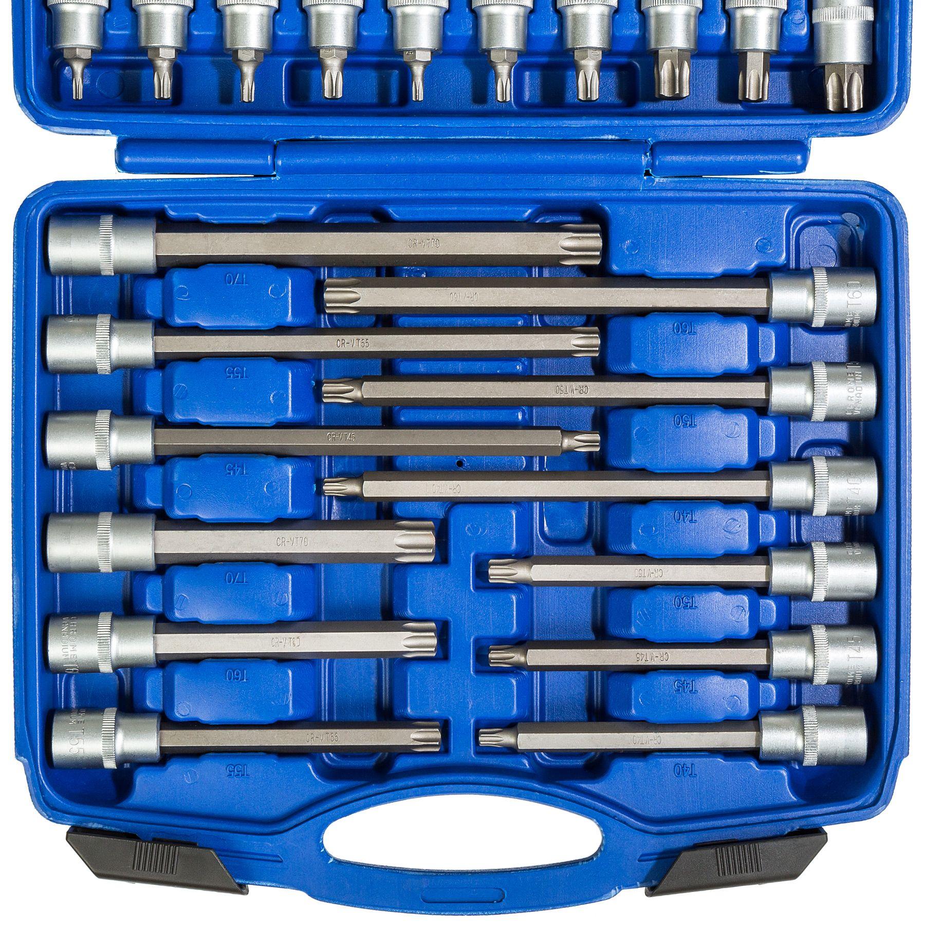 Stecknüsse Kfz Werkzeug Set BGS Bitsortiment 1//2 Innen Torx Nuss Satz 32-tlg