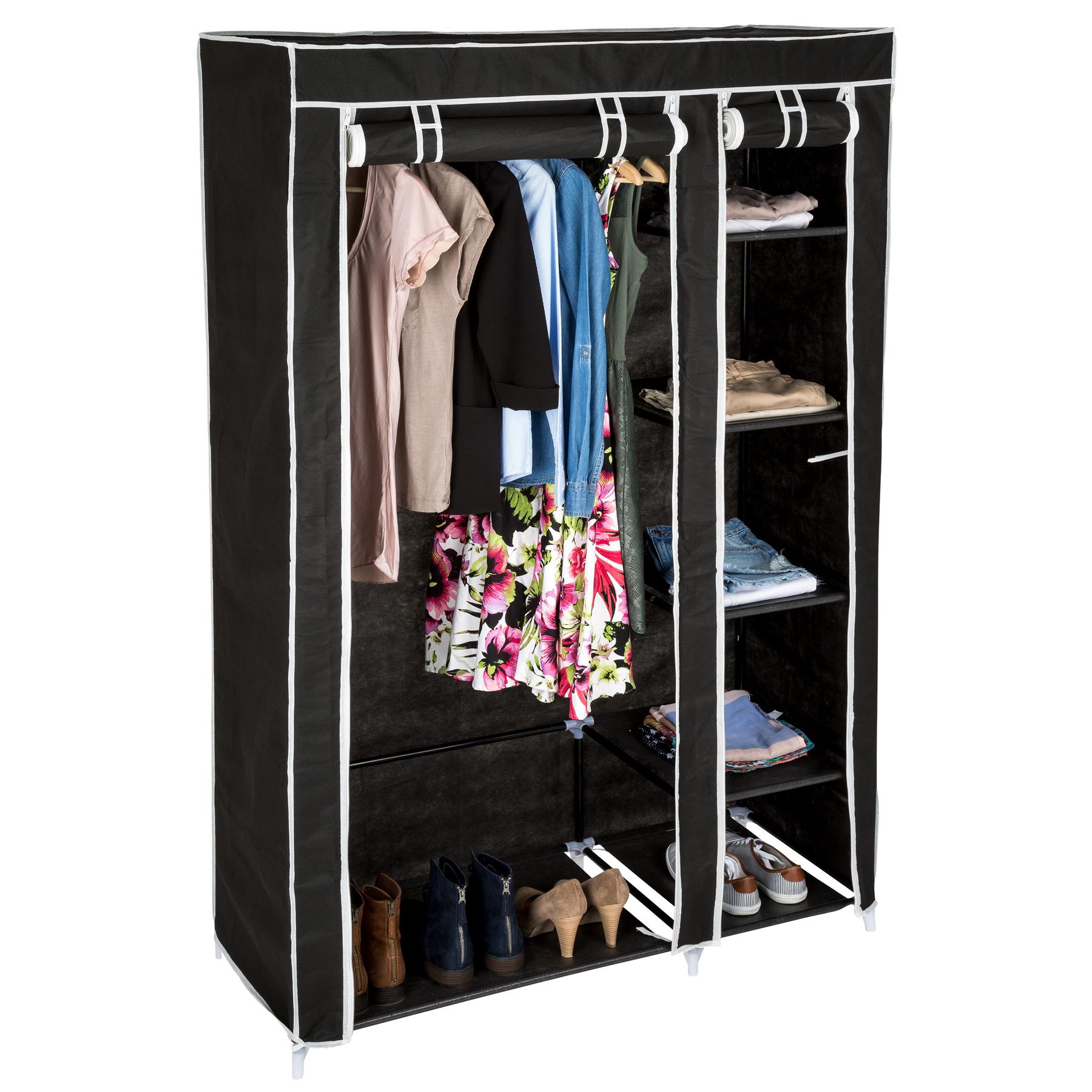 stoffkleiderschrank faltschrank schuhschrank aus stoff campingschrank garderobe ebay. Black Bedroom Furniture Sets. Home Design Ideas