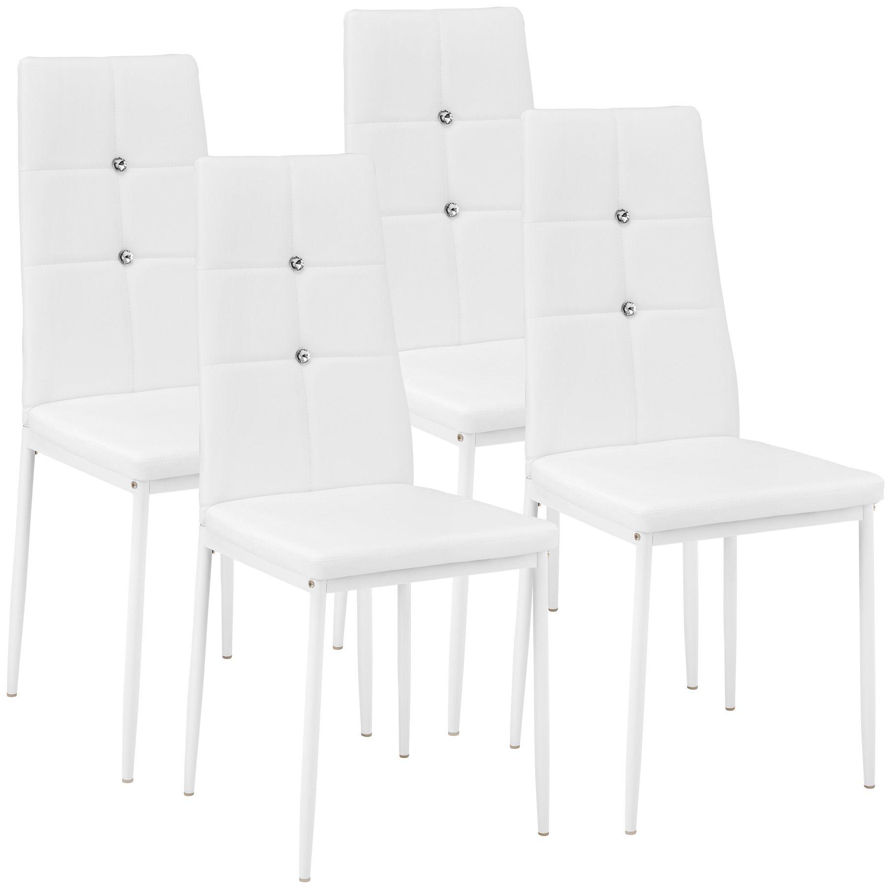 Dettagli su Set di 4 Sedia per Sala da Pranzo Tavolo Cucina Resistente Similpelle Bianco