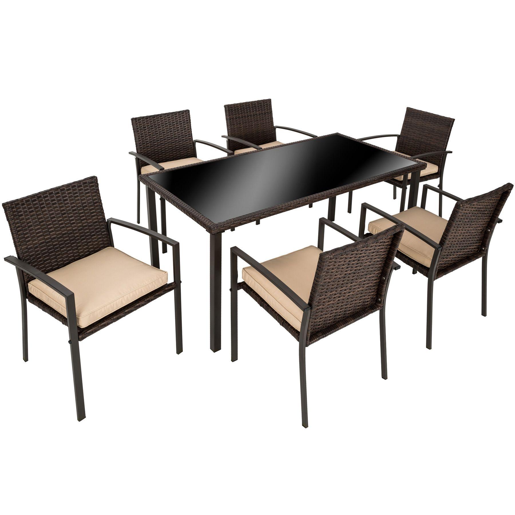Conjunto muebles de jardín terraza ratán sintético exterior 6 sillas ...