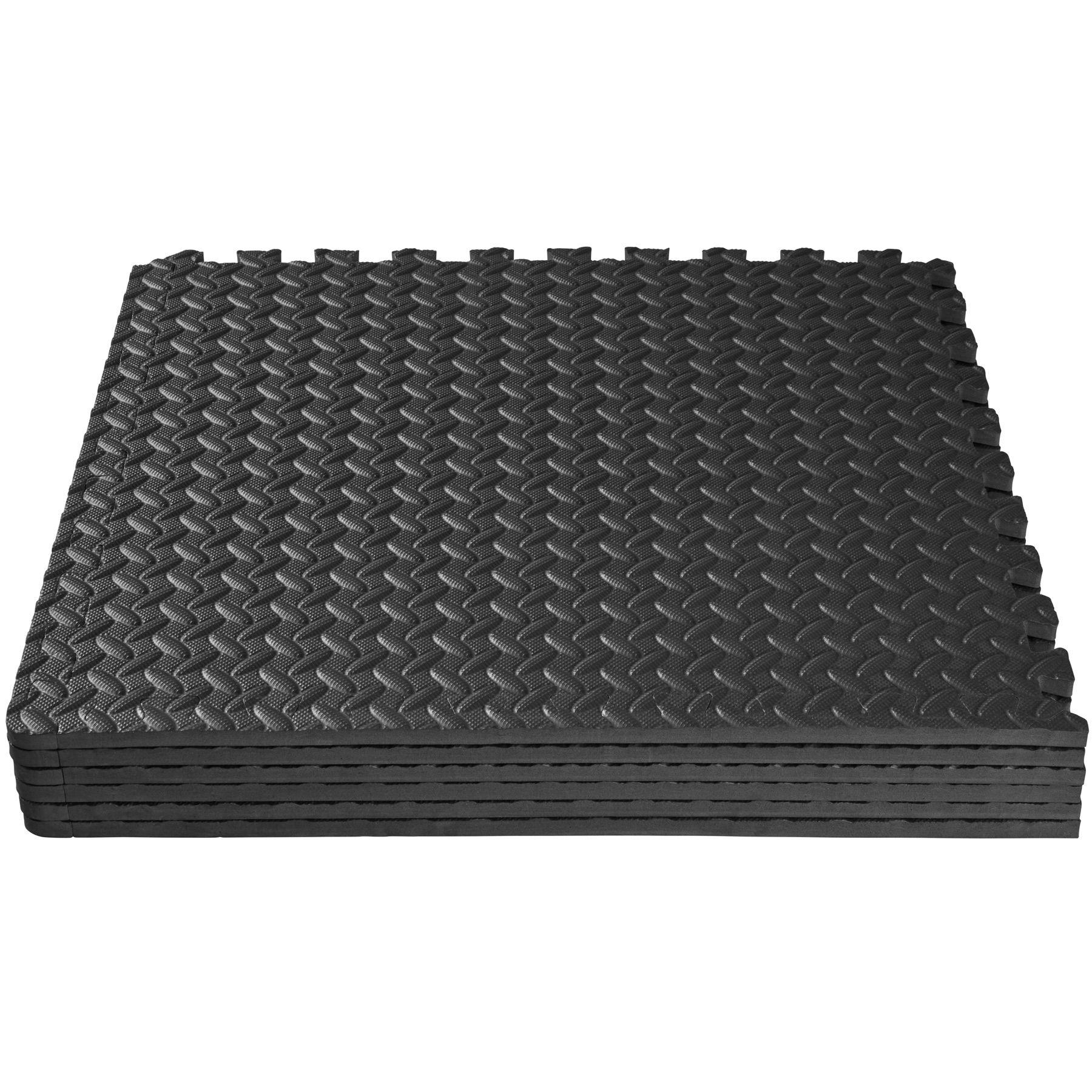 6er set schutzmatten bodenmatte unterlegmatte fitness gymnastik puzzle schwarz ebay. Black Bedroom Furniture Sets. Home Design Ideas