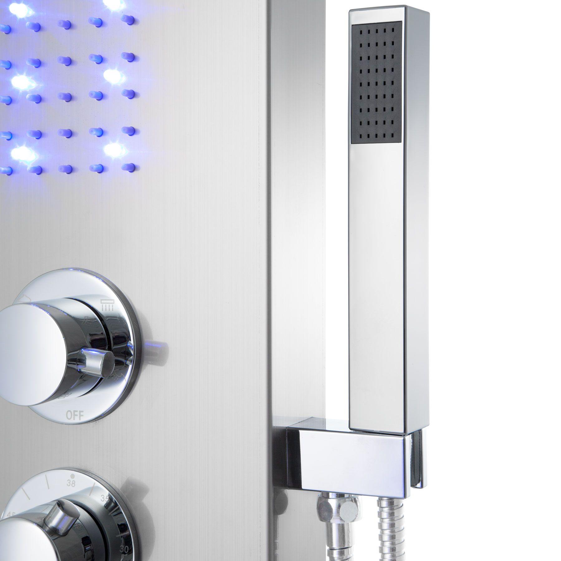 panneau de douche led cascade effet pluie colonne de douche salle de bain jets ebay. Black Bedroom Furniture Sets. Home Design Ideas