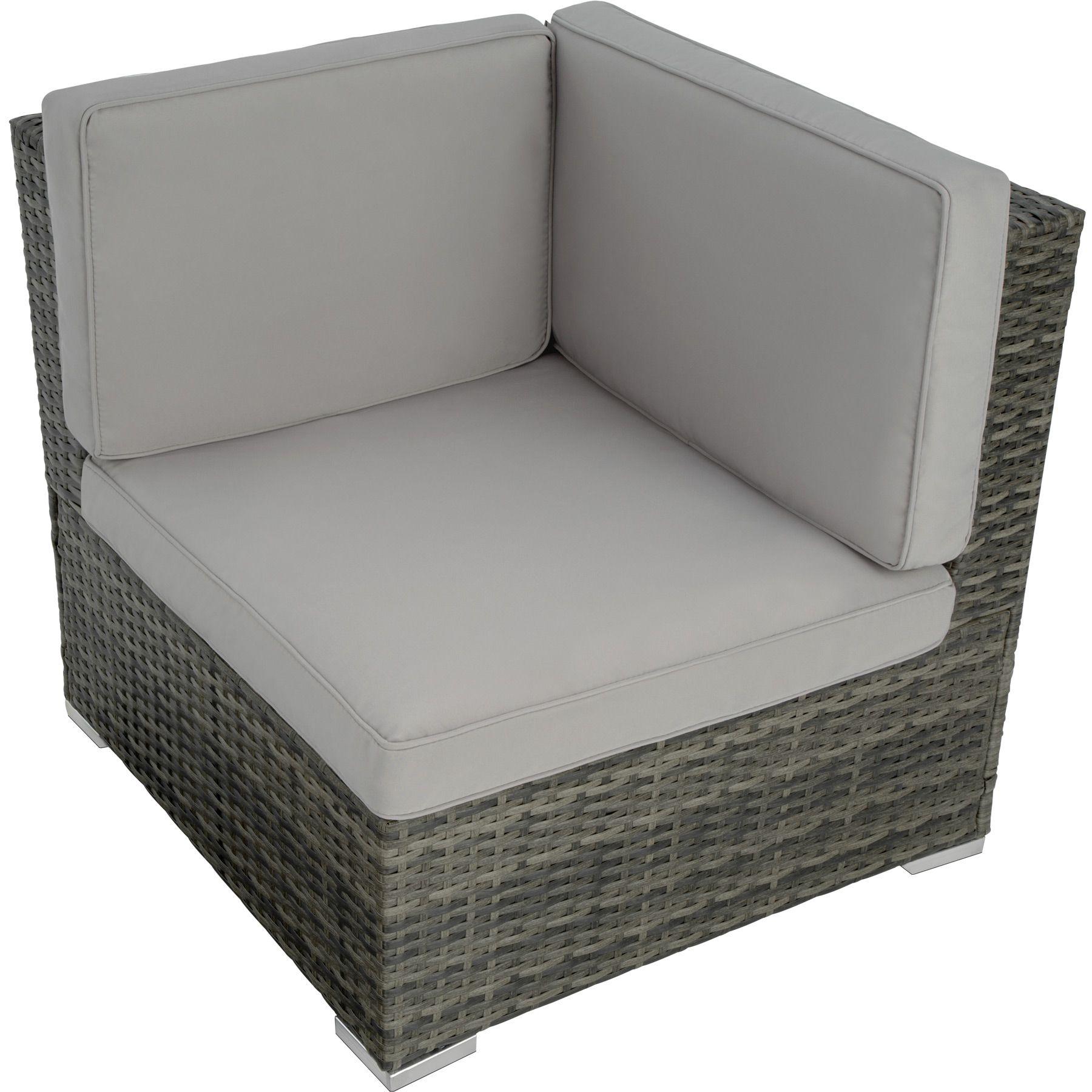 Détails sur Groupe de sièges en rotin jardin poly rotin 6 sièges 1 tabouret  1 table gris