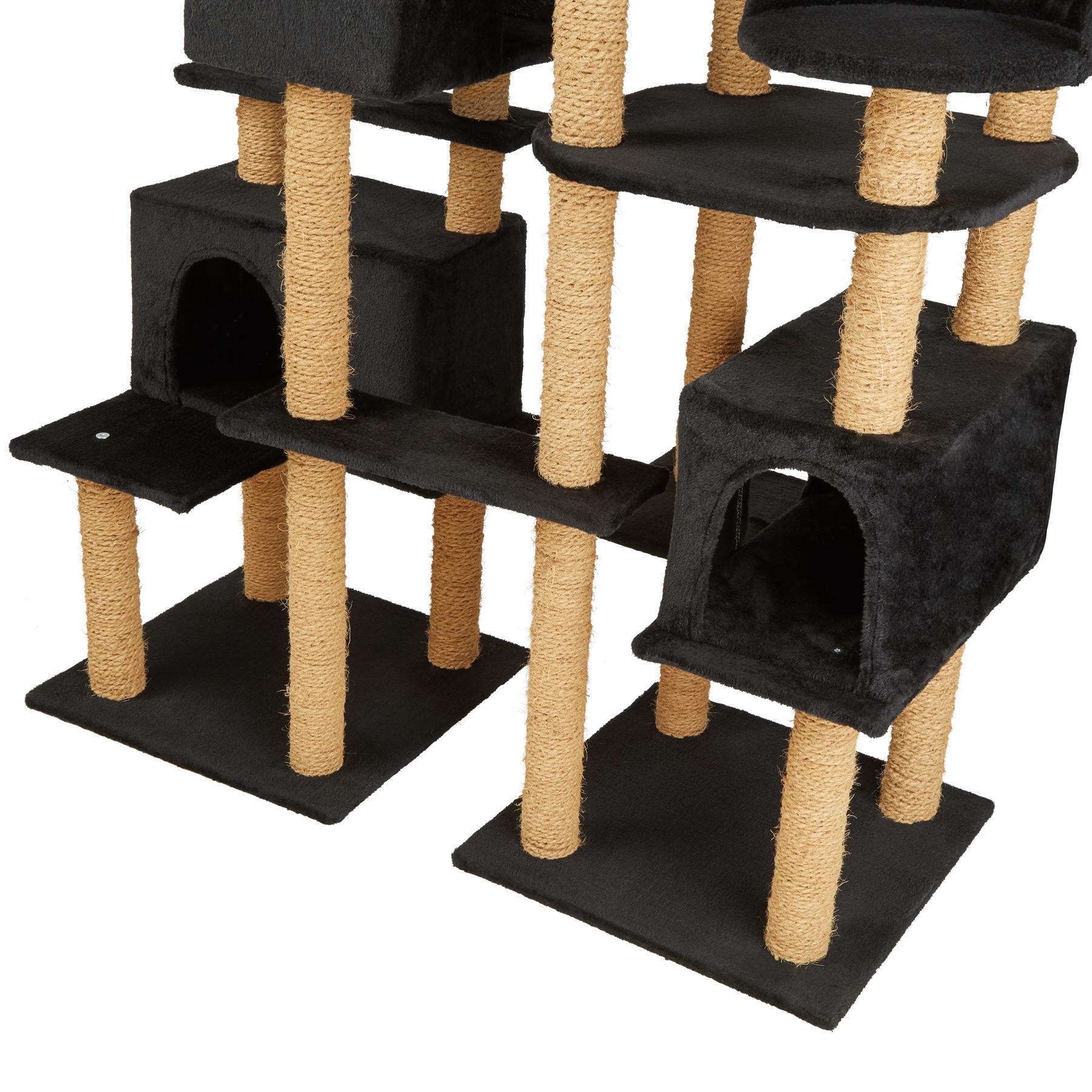 xxl arbre chat griffoir grattoir jouet jeux meuble 214cm pour chats noir ebay. Black Bedroom Furniture Sets. Home Design Ideas