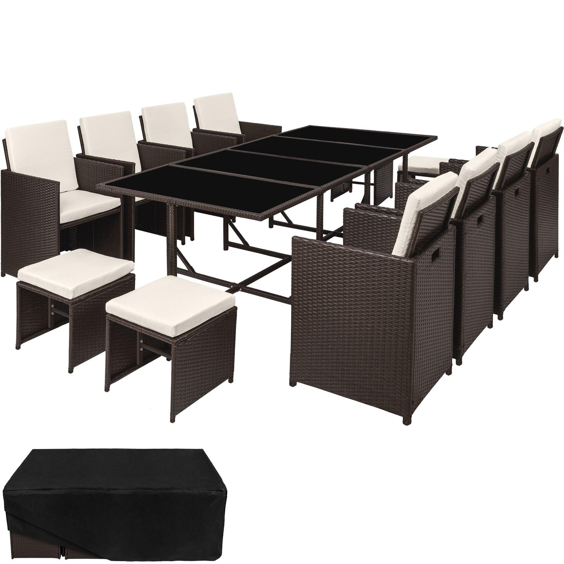 Conjunto muebles de jardín terraza 8x silla taburetes mesa ratán ...