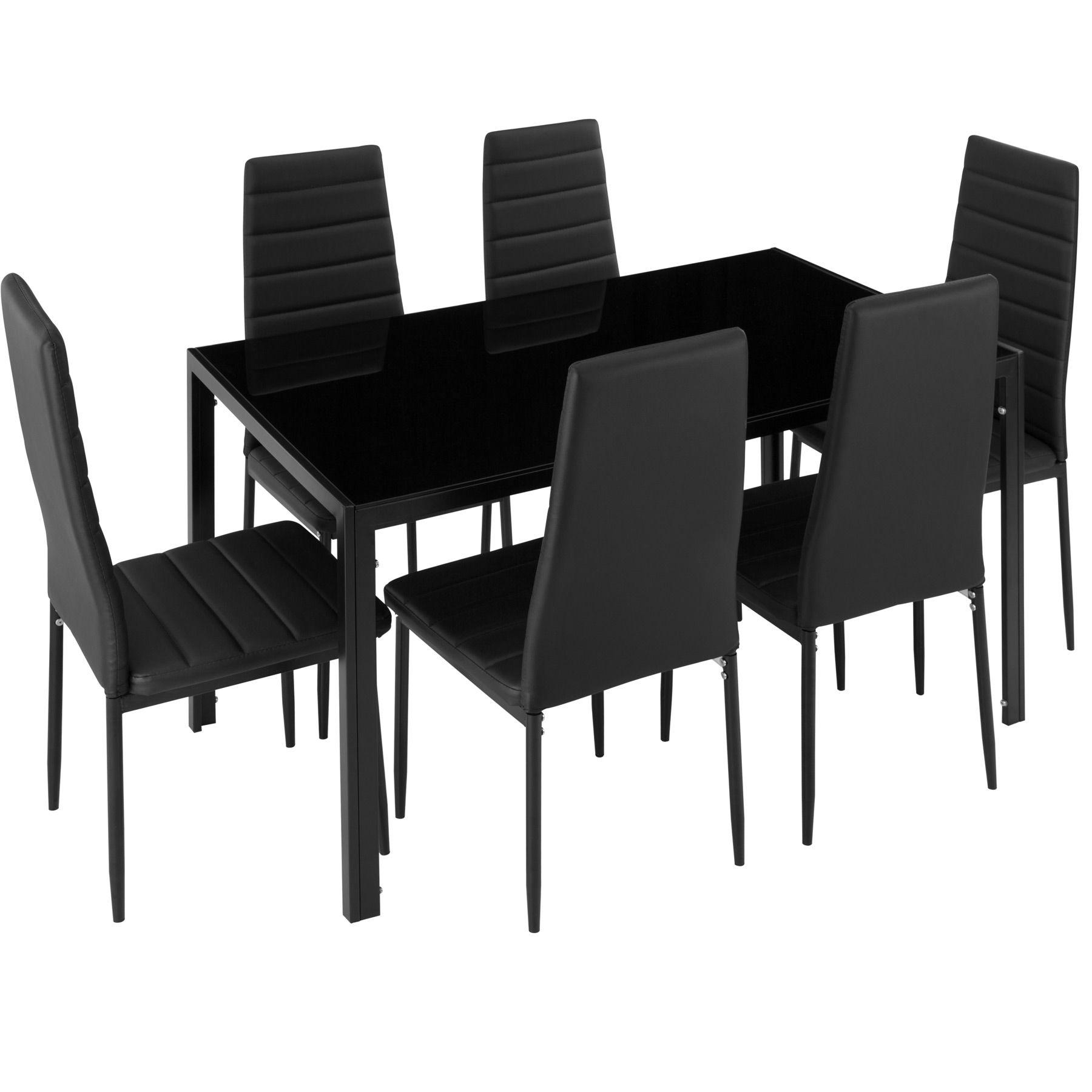 Dettagli su Set di 6 sedia sala da pranzo i tavolo da pranzo di mobili zona pranzo nero nuov