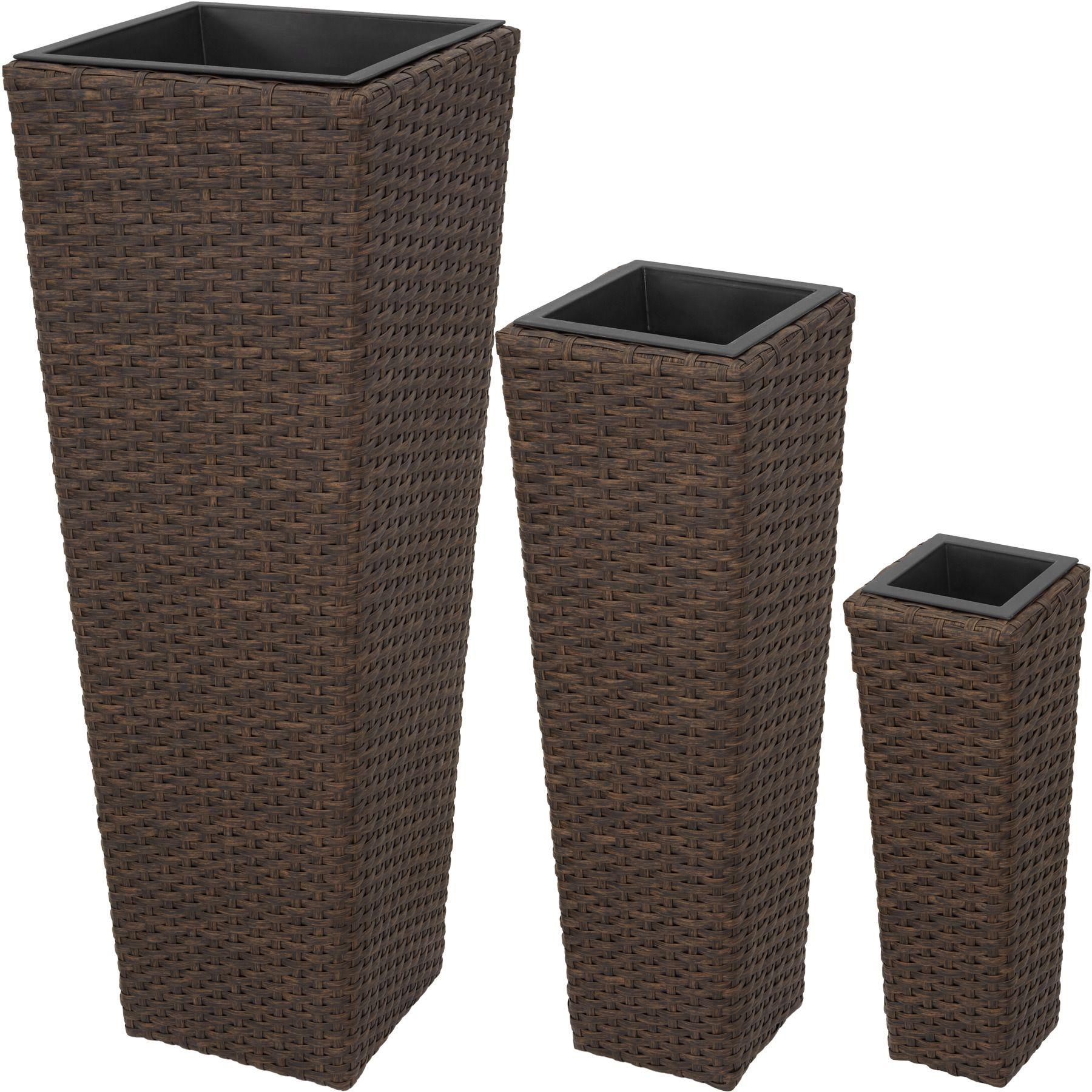 Vasi In Rattan Prezzi.Set Di 3 Vasi Polyrattan Giardino Casa Balcone Arredo Rattan Vaso