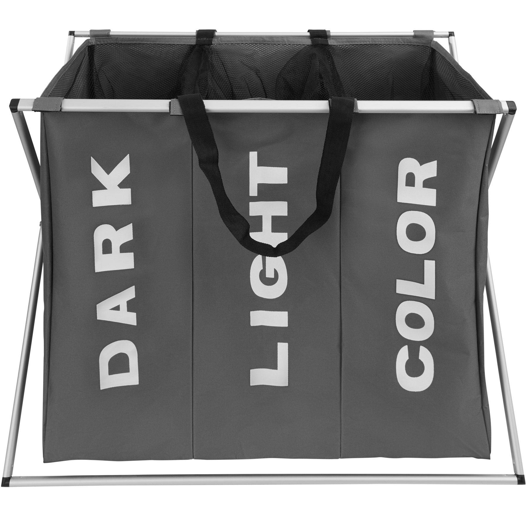 Cesto Per Panni Sporchi dettagli su portabiancheria triplo cesto cestino porta bucato bagno  pieghevole grigio
