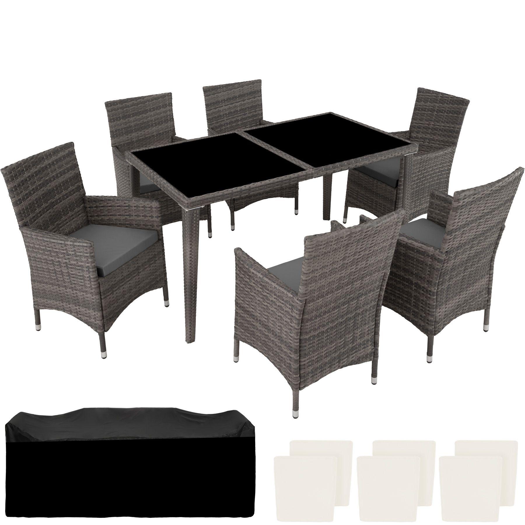 Salon De Jardin Leger détails sur ensemble salon de jardin en résine tressée alu poly rotin table  chaise 6+1 gris